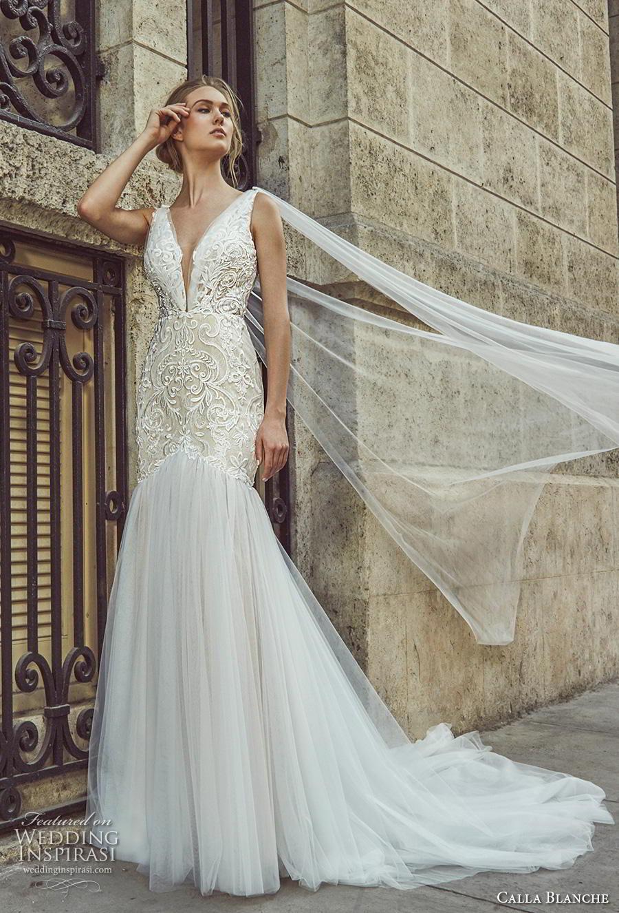 calla blanche fall 2018 bridal sleeveless deep v neck heavily embellished bodice elegant mermaid wedding dress backless v back chapel train (7) mv