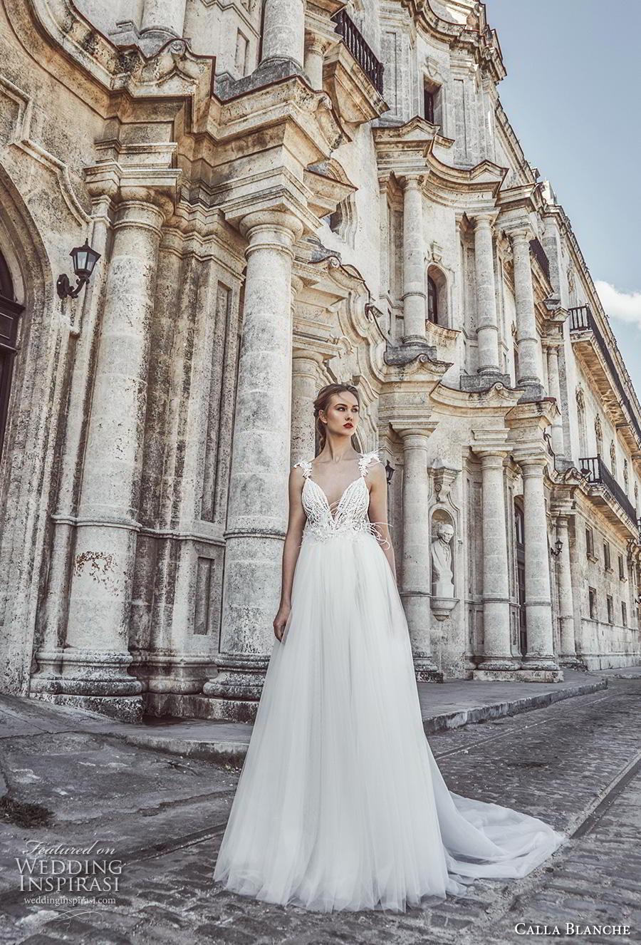 calla blanche fall 2018 bridal sleeveless feather strap deep v neckline heavily embellished bodice slit skirt romantic a  line wedding dress backless chapel train (3) mv