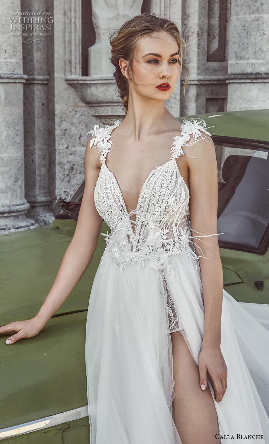 calla blanche fall 2018 bridal sleeveless feather strap deep v neckline heavily embellished bodice slit skirt romantic a  line wedding dress backless chapel train (3) zv