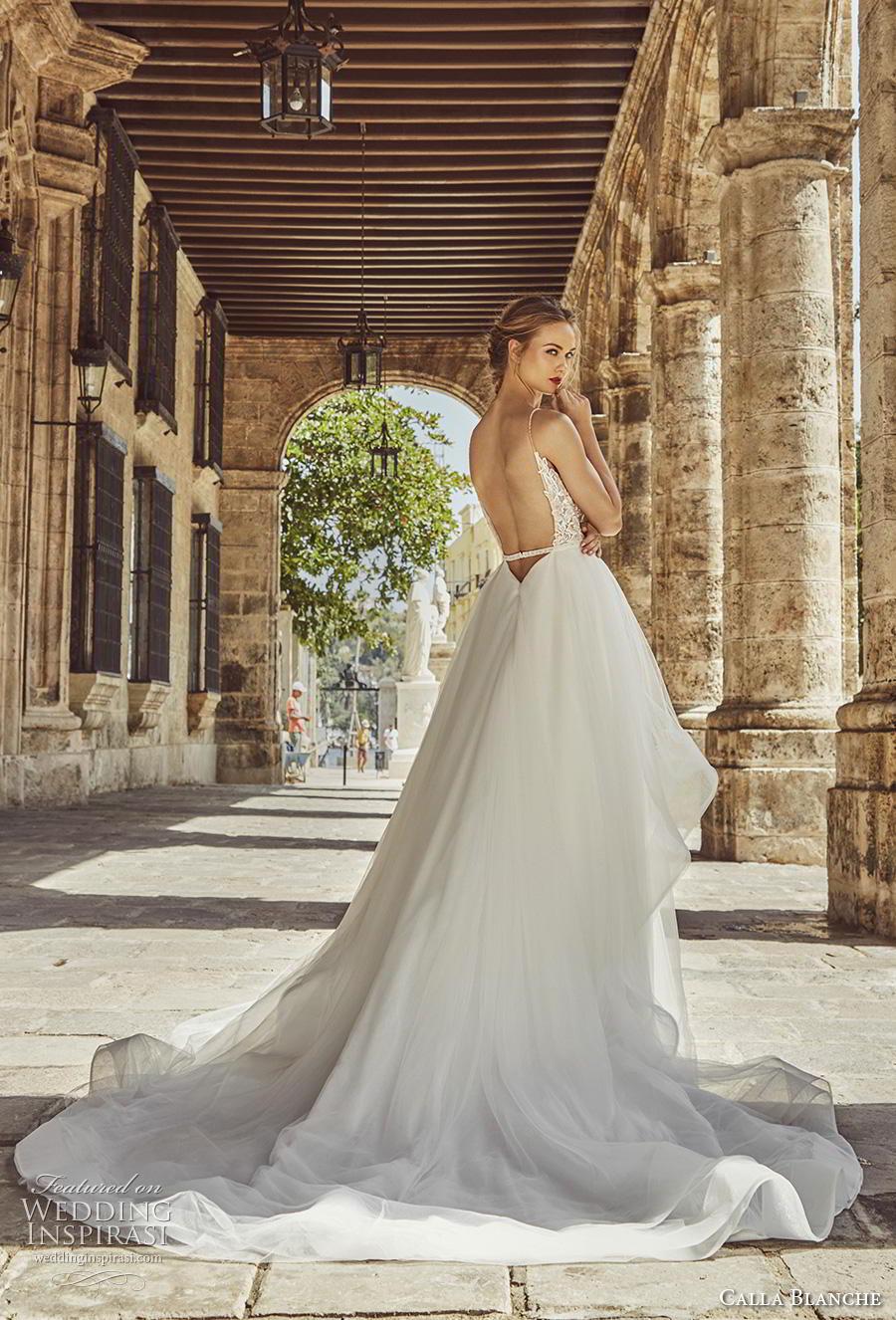 calla blanche fall 2018 bridal sleeveless spaghetti strap diamond neckline heavily embellished bodice tiered skirt romantic a  line wedding dress backless chapel train (8) bv