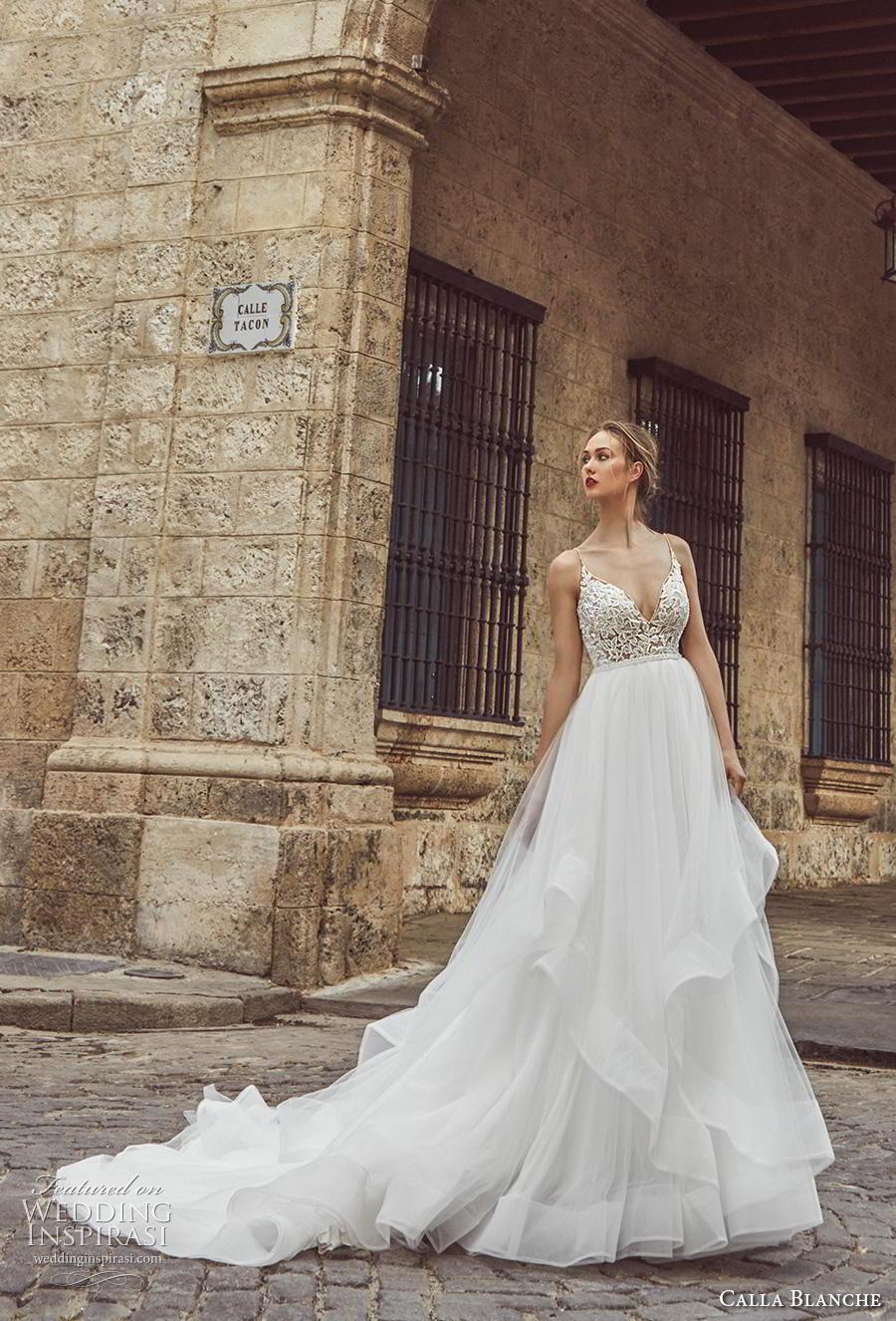 calla blanche fall 2018 bridal sleeveless spaghetti strap diamond neckline heavily embellished bodice tiered skirt romantic a  line wedding dress backless chapel train (8) mv