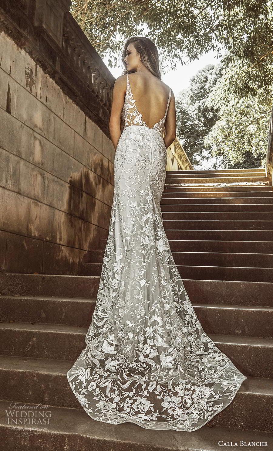 calla blanche fall 2018 bridal sleeveless thin strap deep plunging v neck full embellishment elegant fit and flare wedding dress backless chapel train (11) bv