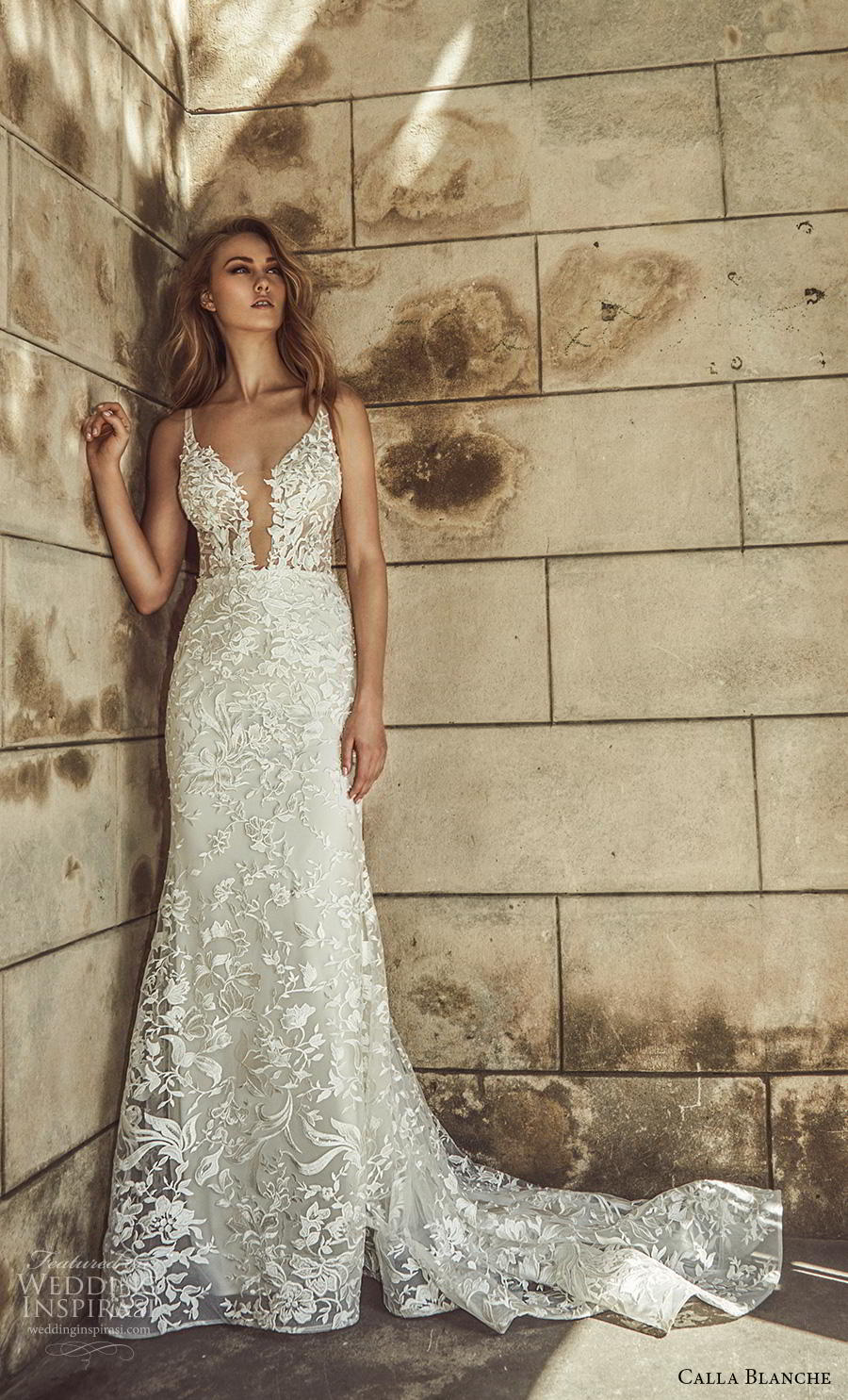 calla blanche fall 2018 bridal sleeveless thin strap deep plunging v neck full embellishment elegant fit and flare wedding dress backless chapel train (11) mv