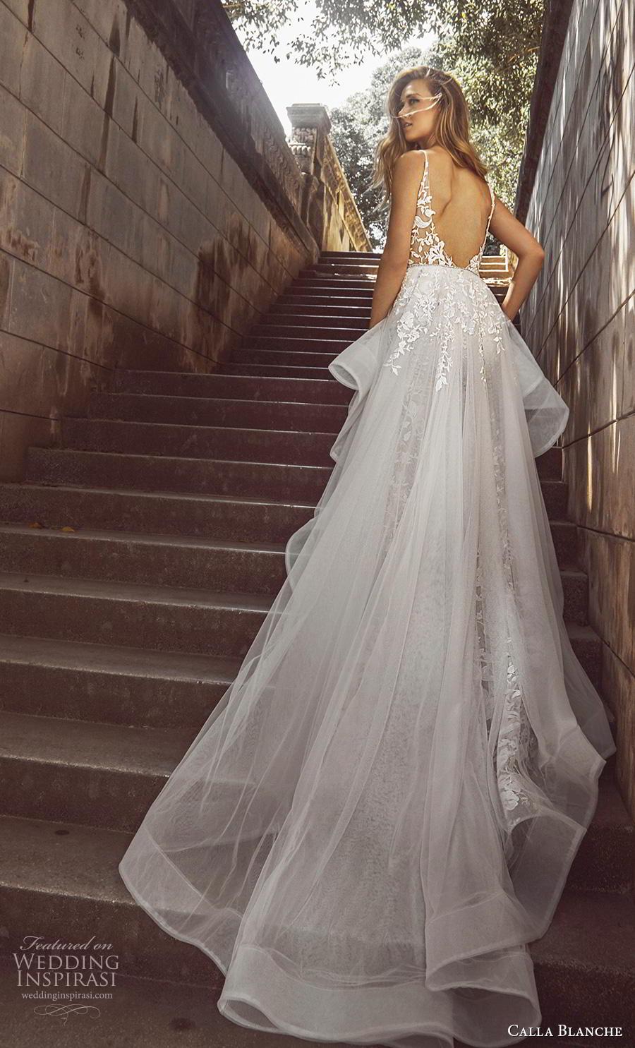 calla blanche fall 2018 bridal sleeveless thin strap deep plunging v neck full embellishment elegant peplum fit and flare wedding dress backless chapel train (11) bv