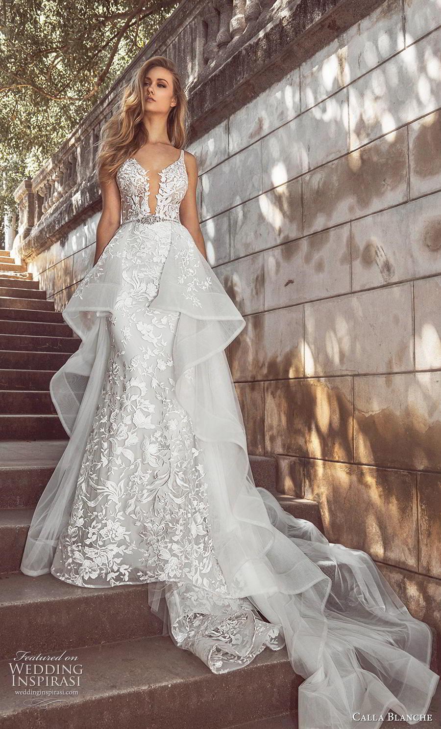 calla blanche fall 2018 bridal sleeveless thin strap deep plunging v neck full embellishment elegant peplum fit and flare wedding dress backless chapel train (11) mv