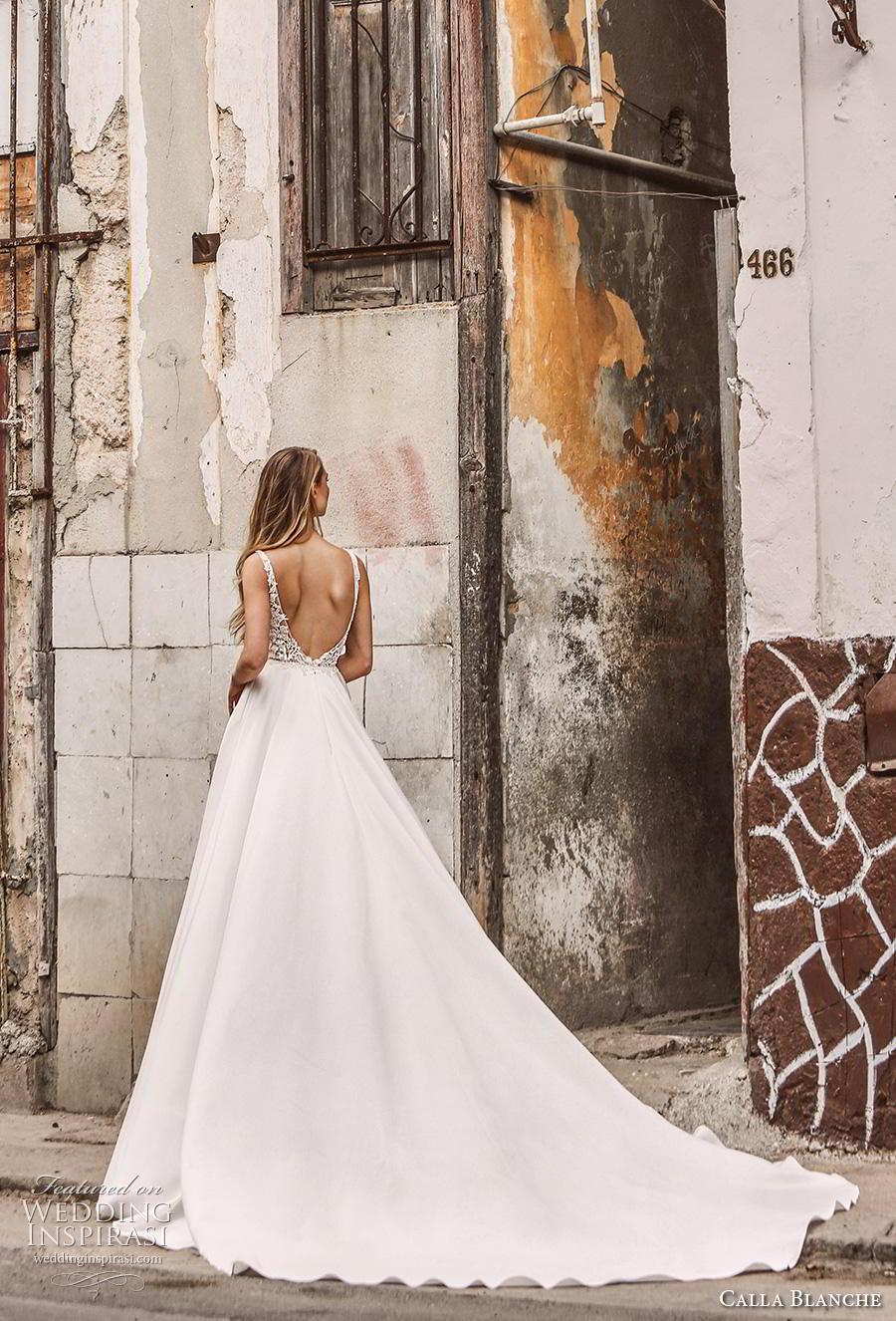 calla blanche fall 2018 bridal sleeveless thin strap scoop neckline heavily embellished bodice romantic a  line wedding dress backless v back chapel train (14) bv