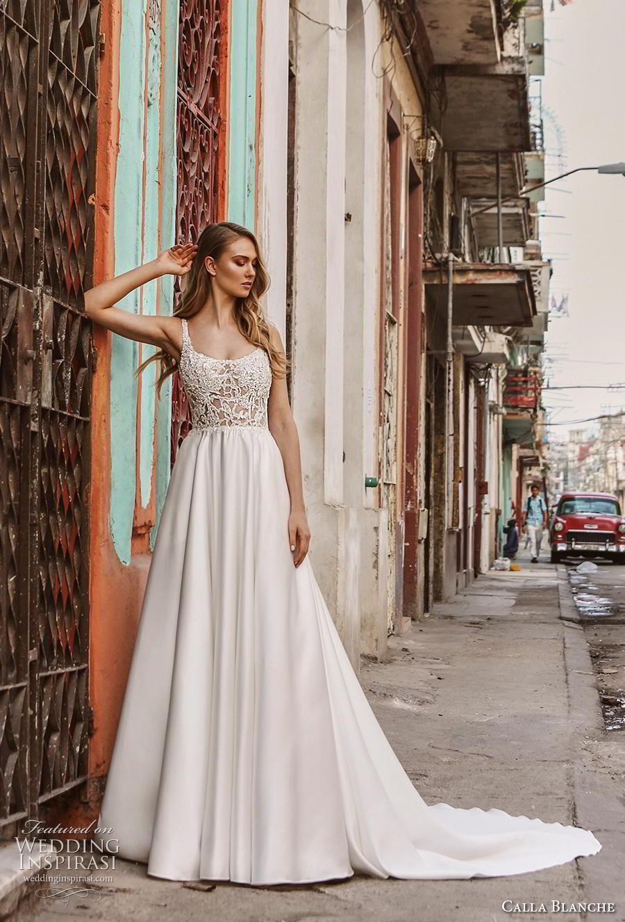 calla blanche fall 2018 bridal sleeveless thin strap scoop neckline heavily embellished bodice romantic a  line wedding dress backless v back chapel train (14) mv