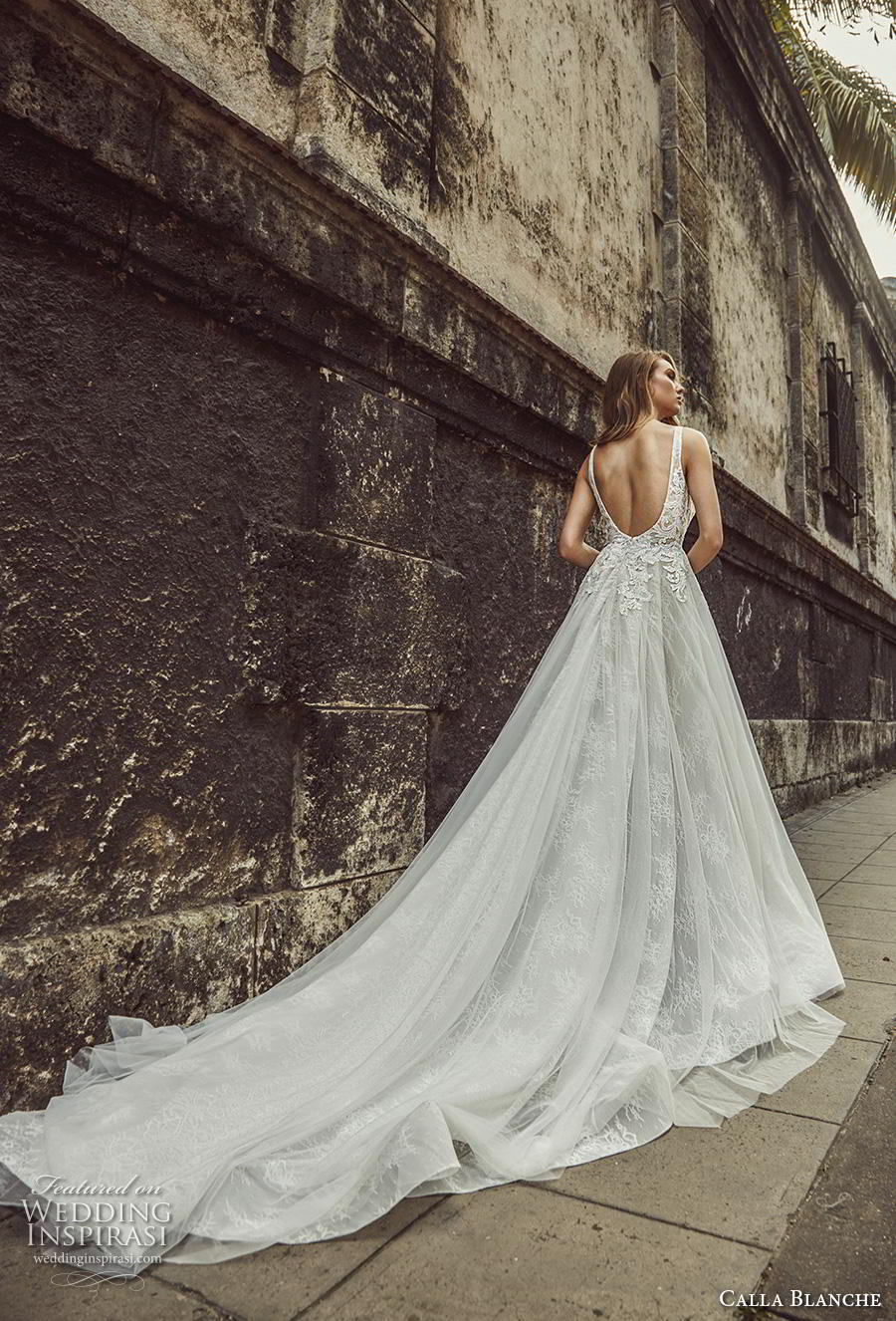 calla blanche fall 2018 bridal sleeveless thin strap square neckline heavily embellished bodice bustier romantic a  line wedding dress backless scoop back royal train (6) bv