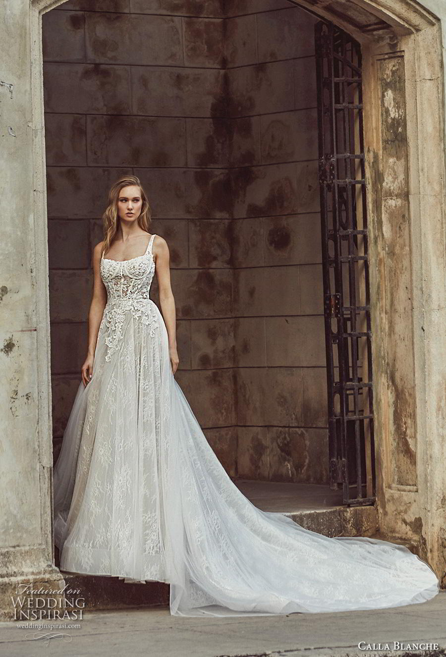 calla blanche fall 2018 bridal sleeveless thin strap square neckline heavily embellished bodice bustier romantic a  line wedding dress backless scoop back royal train (6) mv