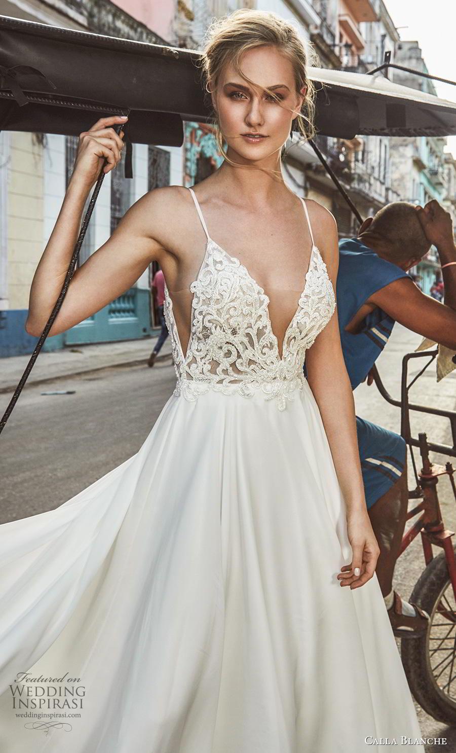 calla blanche fall 2018 bridal spaghetti strap deep plunging sweetheart neckline heavily embellished bodice romantic a  line wedding dress backless v back royal train (19) zv
