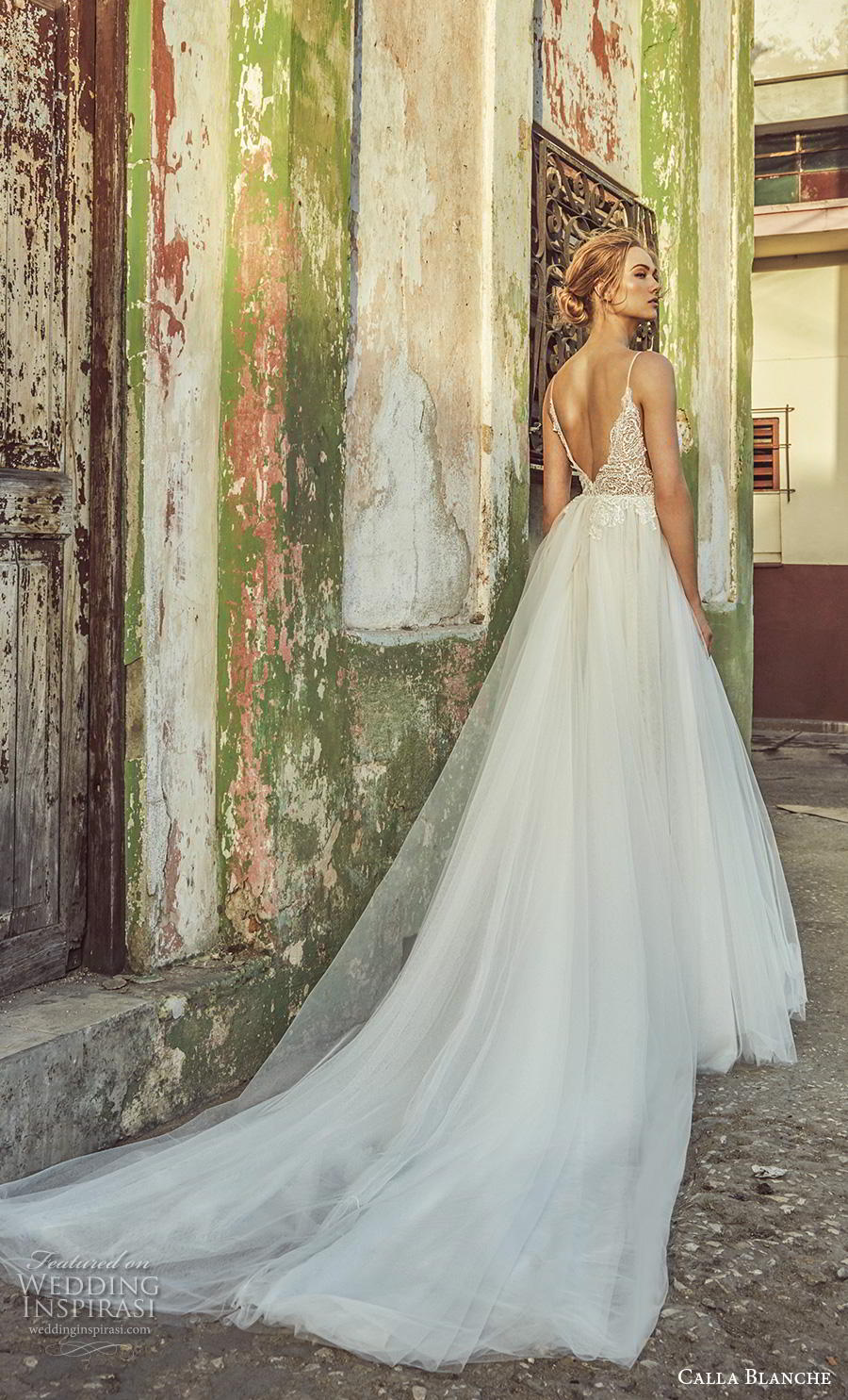 calla blanche fall 2018 bridal spaghetti strap deep plunging v neck heavily embellished bodice tulle slit skirt romantic sexy a  line wedding dress backless v back chapel train (15) bv