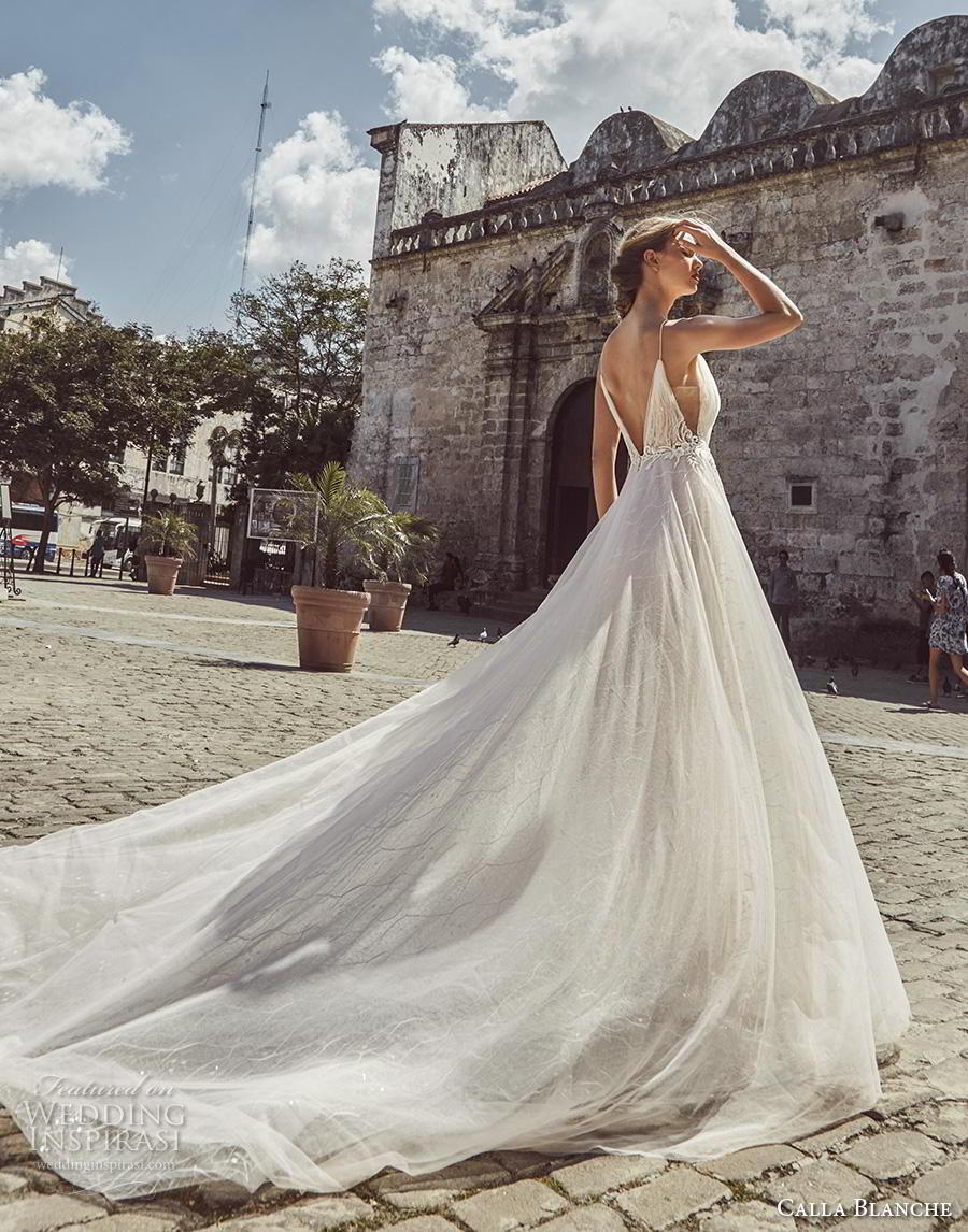 calla blanche fall 2018 bridal spaghetti strap diamond neckline light embellishment romantic soft a  line wedding dress backless v back royal train (1) bv