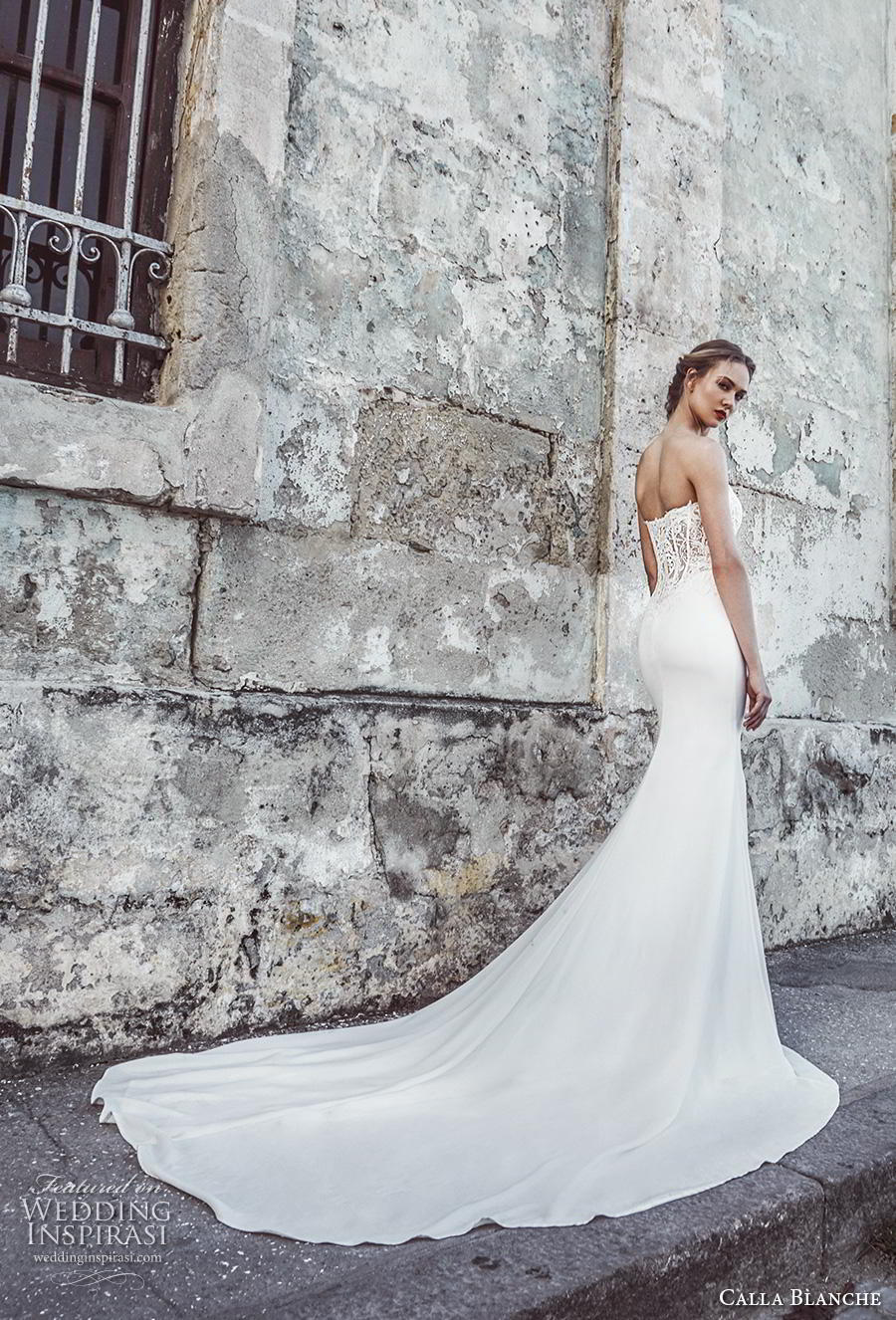 calla blanche fall 2018 bridal strapless deep plunging sweetheart neckline heavily embellished bodice elegant sheath wedding dress royal train (2) bv