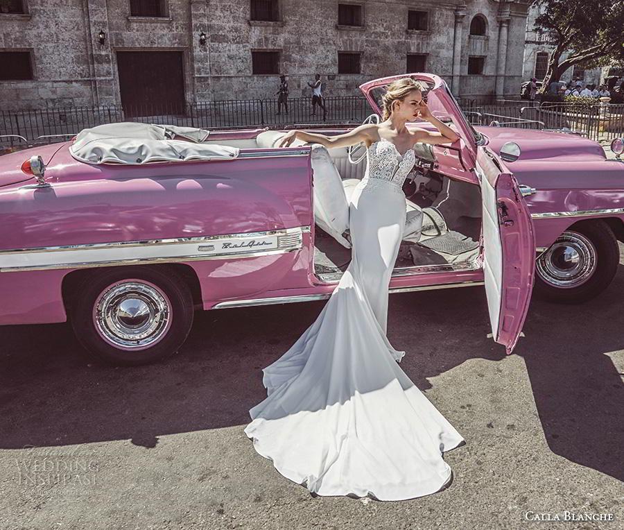 calla blanche fall 2018 bridal strapless deep plunging sweetheart neckline heavily embellished bodice elegant sheath wedding dress royal train (2) mv