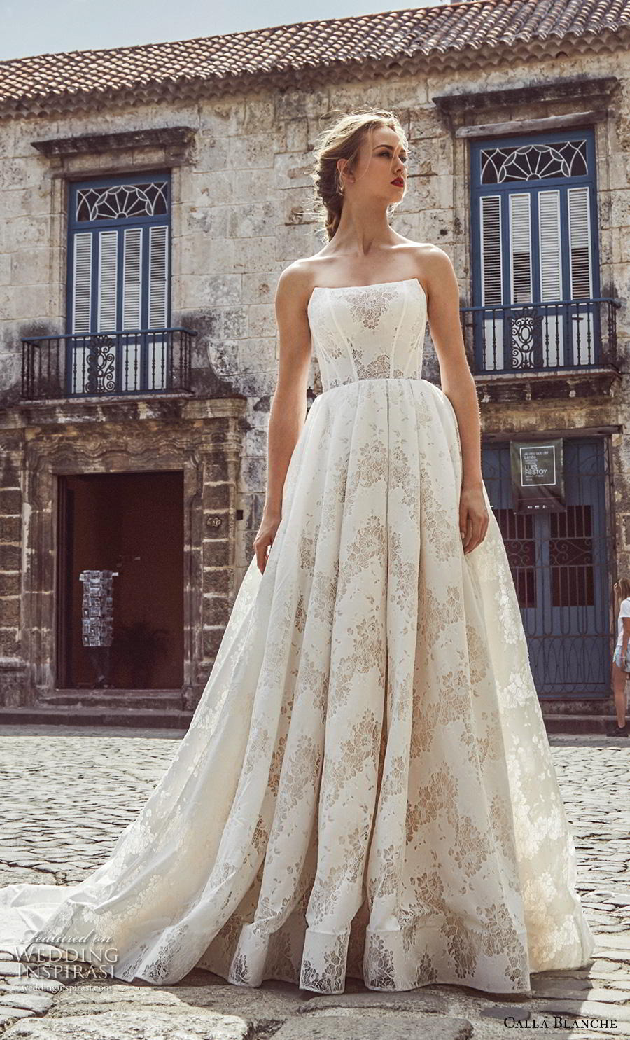 calla blanche fall 2018 bridal strapless straight across neckline full embellishment classic elegant ball gown a  line wedding dress chapel train (18) mv