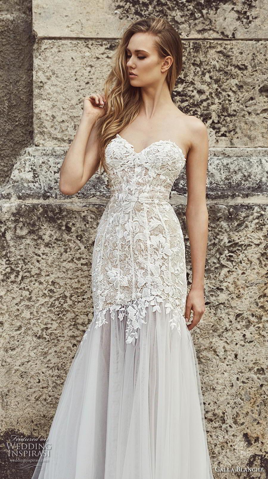 calla blanche fall 2018 bridal strapless sweetheart neckline heavily embellished bodice elegant mermaid wedding dress chapel train (5) zv