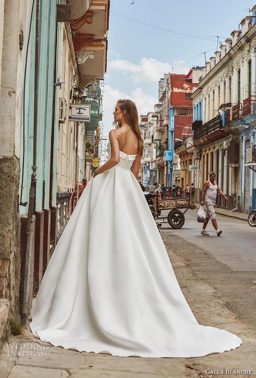 calla blanche fall 2018 bridal strapless sweetheart neckline simple elegant a  line wedding dress with pockets chapel train (10) bv