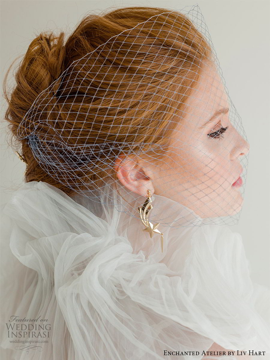 enchanted atelier liv hart fall 2019 accessories gold drop earrings birdcage veil (13) mv