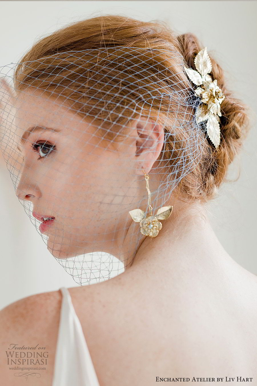enchanted atelier liv hart fall 2019 accessories gold earrings birdcage veil (2) mv