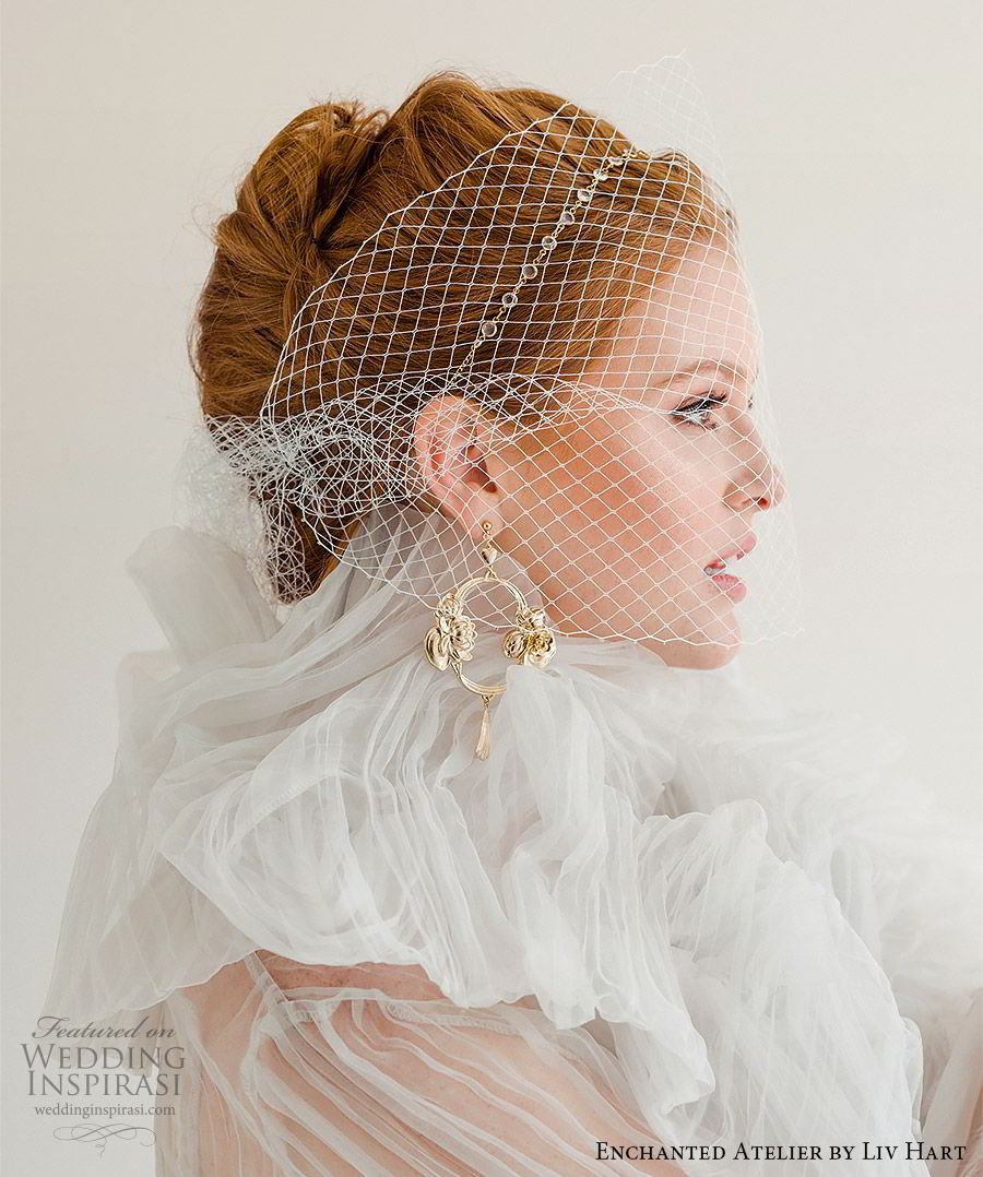 enchanted atelier liv hart fall 2019 accessories gold earrings birdcage veil headband (19) mv