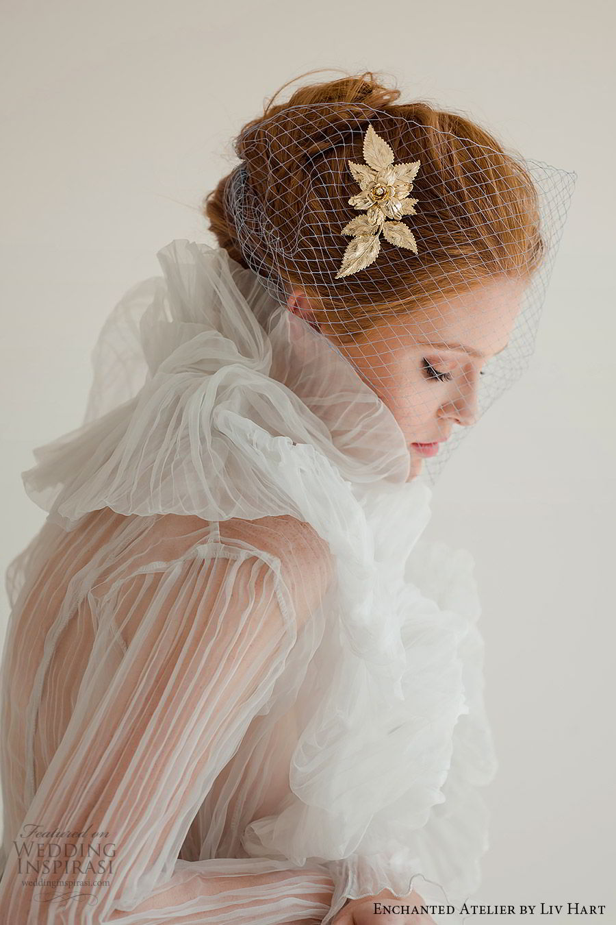 enchanted atelier liv hart fall 2019 accessories gold hairpin birdcage veil (4)  mv