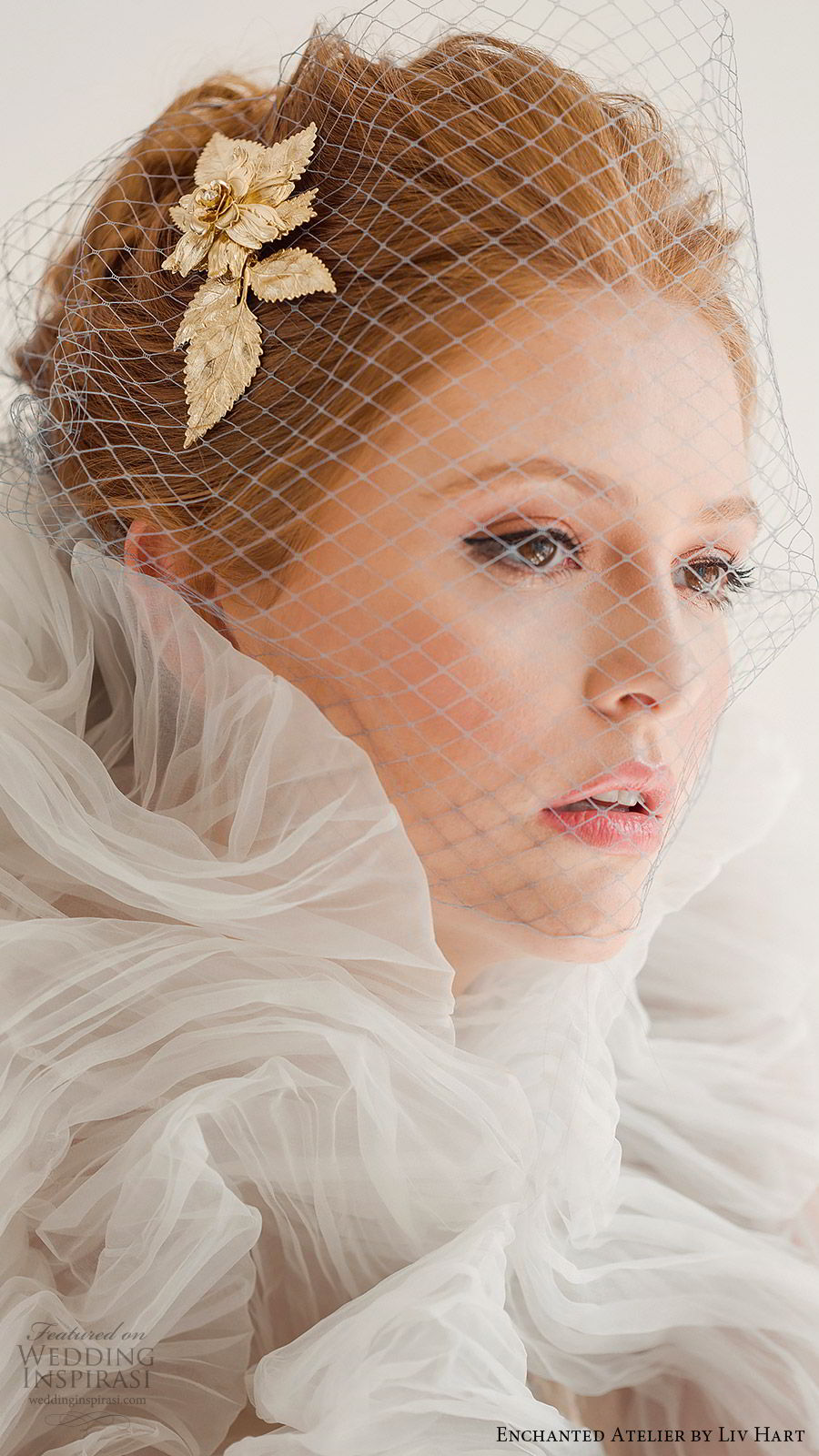 enchanted atelier liv hart fall 2019 accessories gold hairpin birdcage veil (4) zv