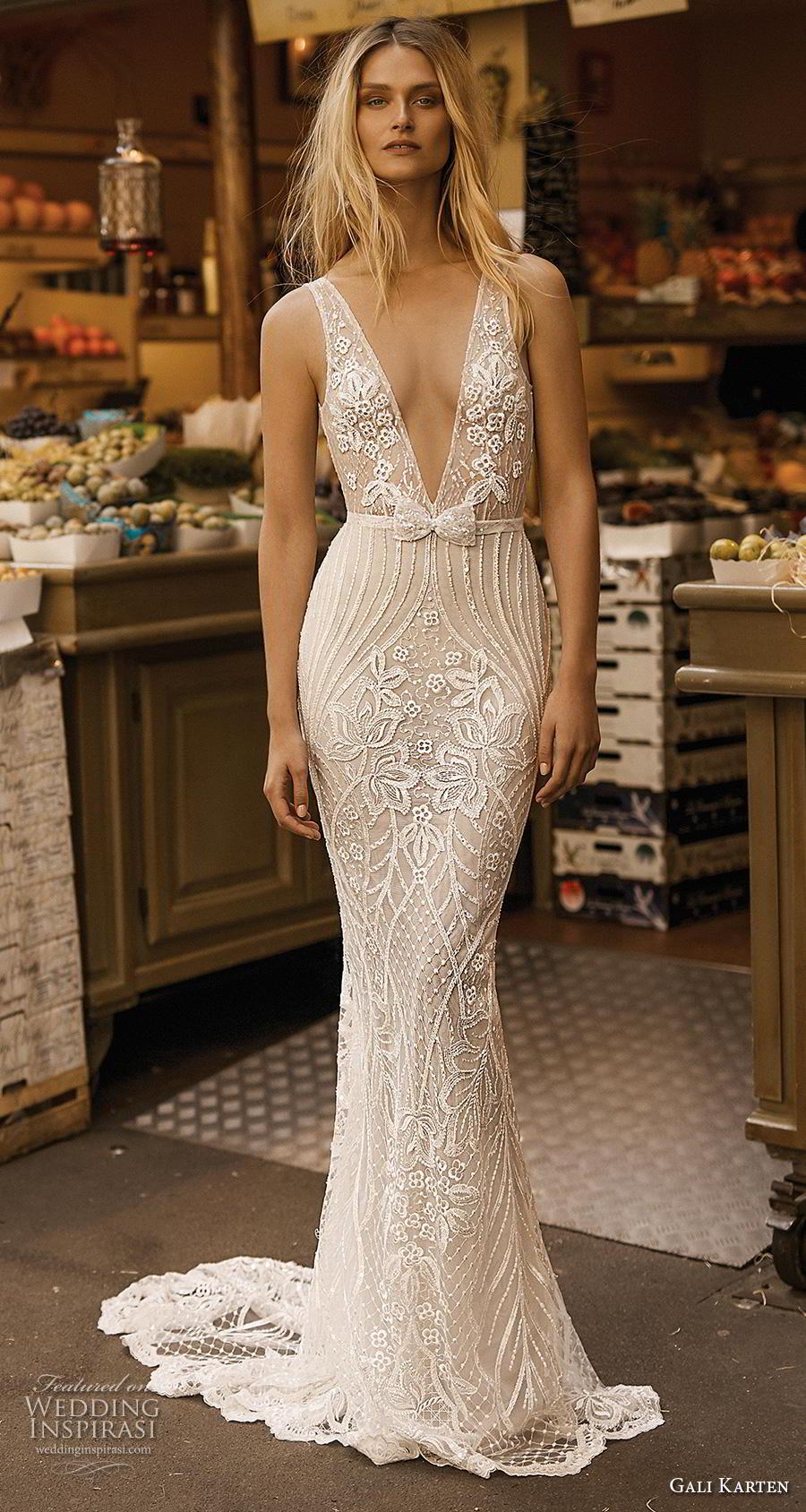 036cb085f70 gali karten 2019 bridal sleeveless deep v neck full embellishment sexy  elegant fit and flare sheath