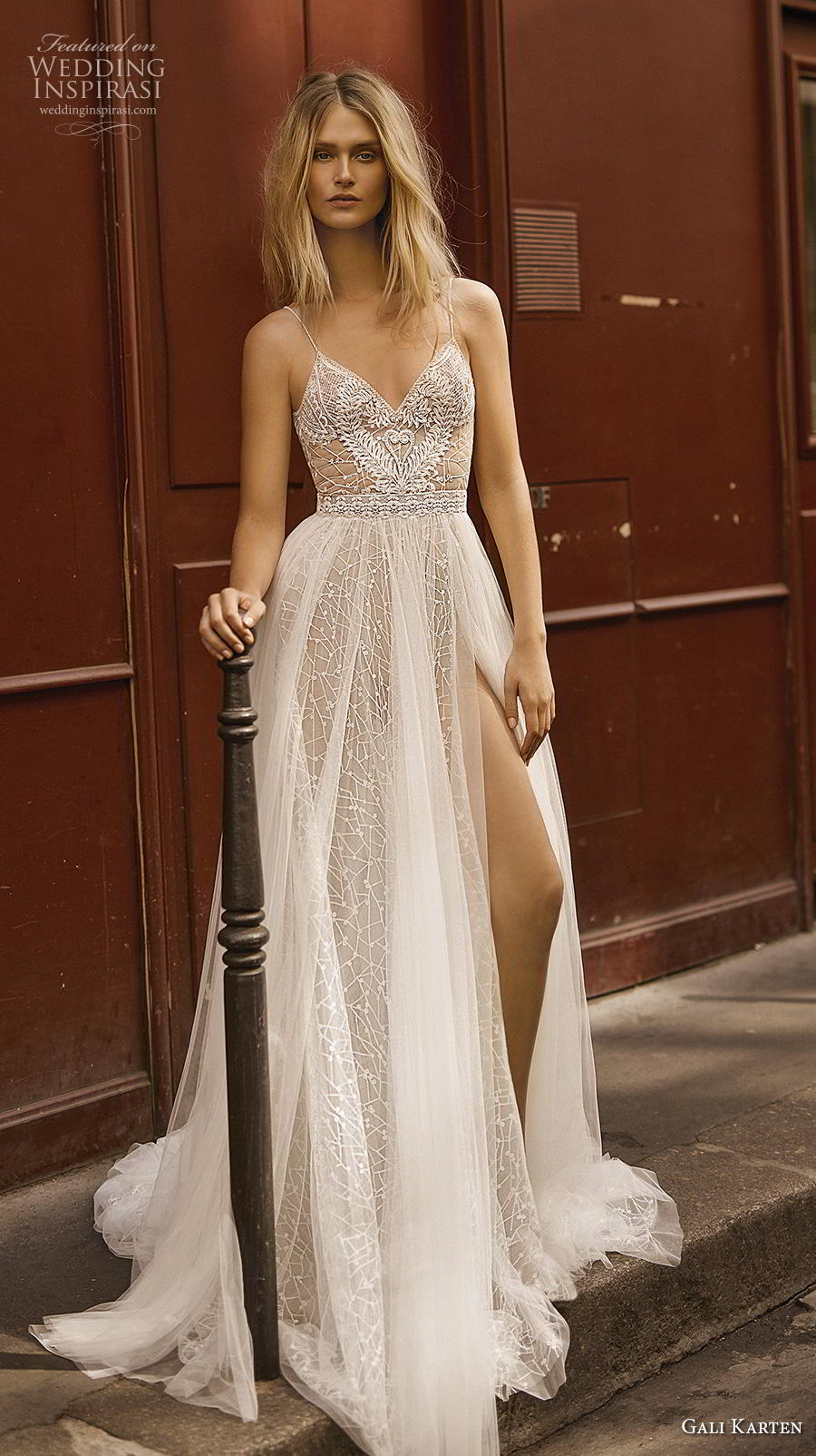 c520352db3b0 gali karten 2019 bridal sleeveless spaghetti strap diamond neckline heavily  embellished bodice slit skirt romantic soft