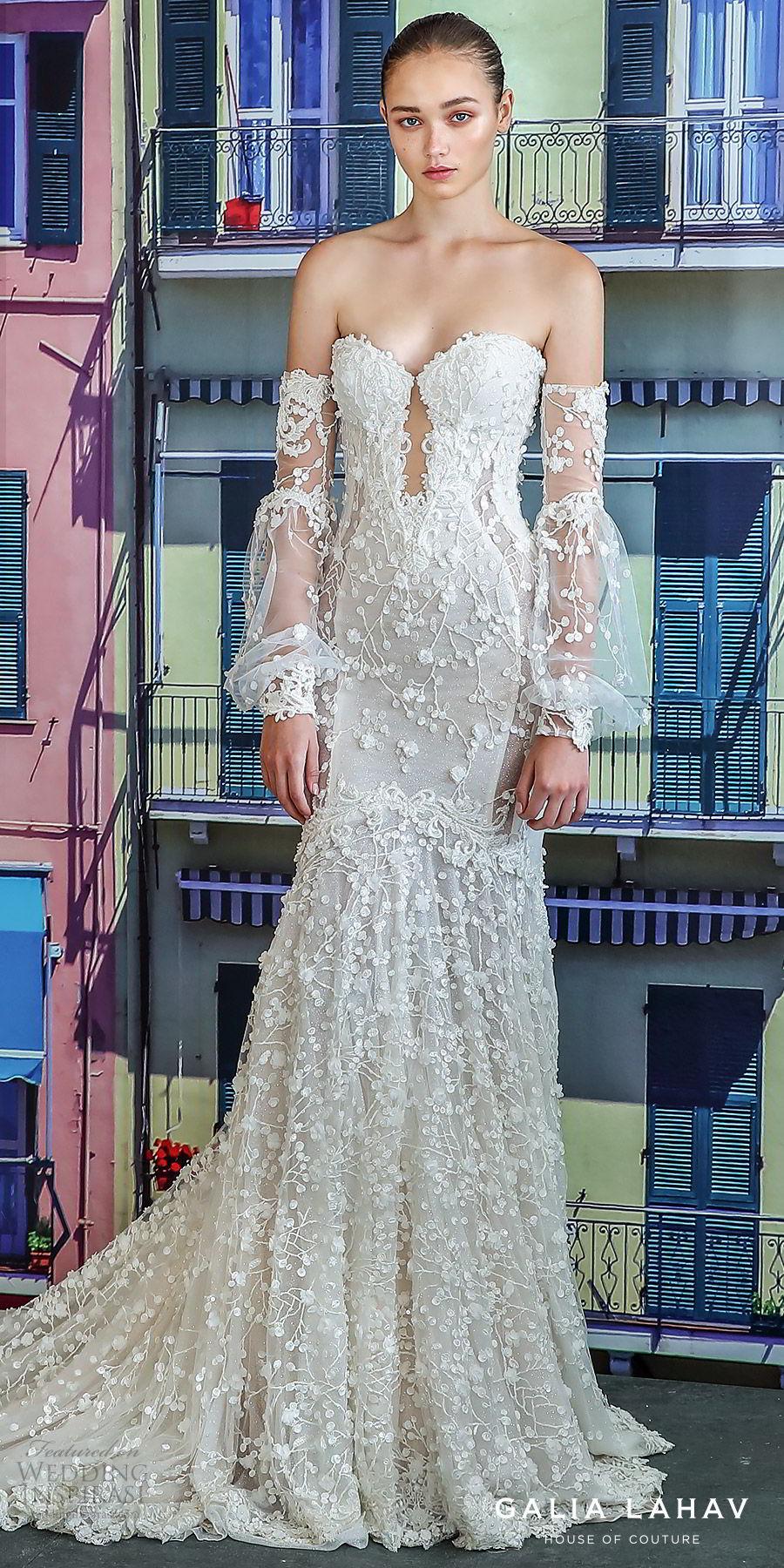 galia lahav fall 2019 bridal detached illusion bell sleeves sweetheart keyhole bodice fully embroidered lace mermaid wedding dress cathedral train illusion back (camilla) lv