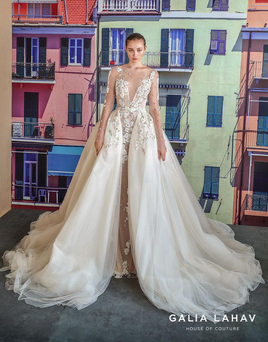 galia lahav fall 2019 bridal illusion long sleeves sheer bateau plunging sweetheart neckline sheath mermaid wedding dress ball gown overskirt low back romantic princess (nevis) mv