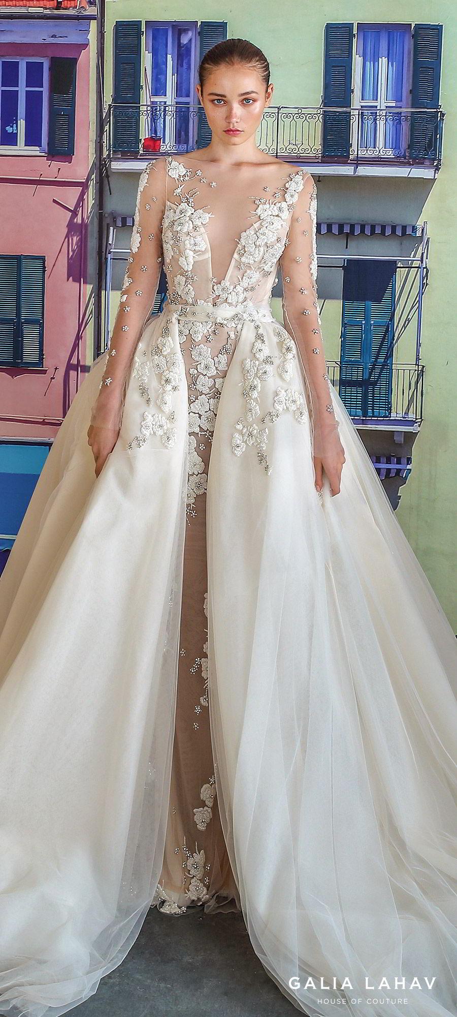 galia lahav fall 2019 bridal illusion long sleeves sheer bateau plunging sweetheart neckline sheath mermaid wedding dress ball gown overskirt low back romantic princess (nevis) zv