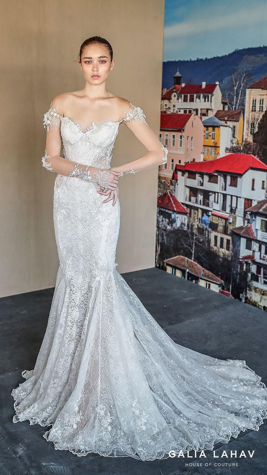 galia lahav fall 2019 bridal illusion long sleeves sweetheart neckline fit flare heavily embellished mermaid lace wedding dress chapel train elegant romantic (nissa) mv