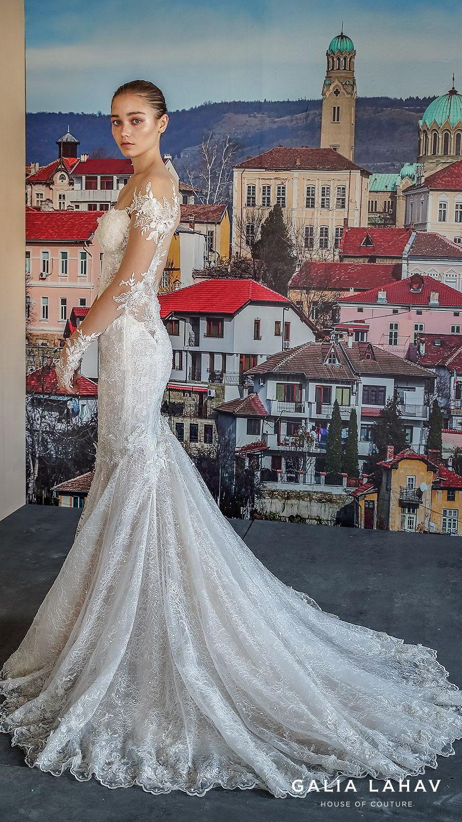 galia lahav fall 2019 bridal illusion long sleeves sweetheart neckline fit flare heavily embellished mermaid lace wedding dress chapel train elegant romantic (nissa) sv