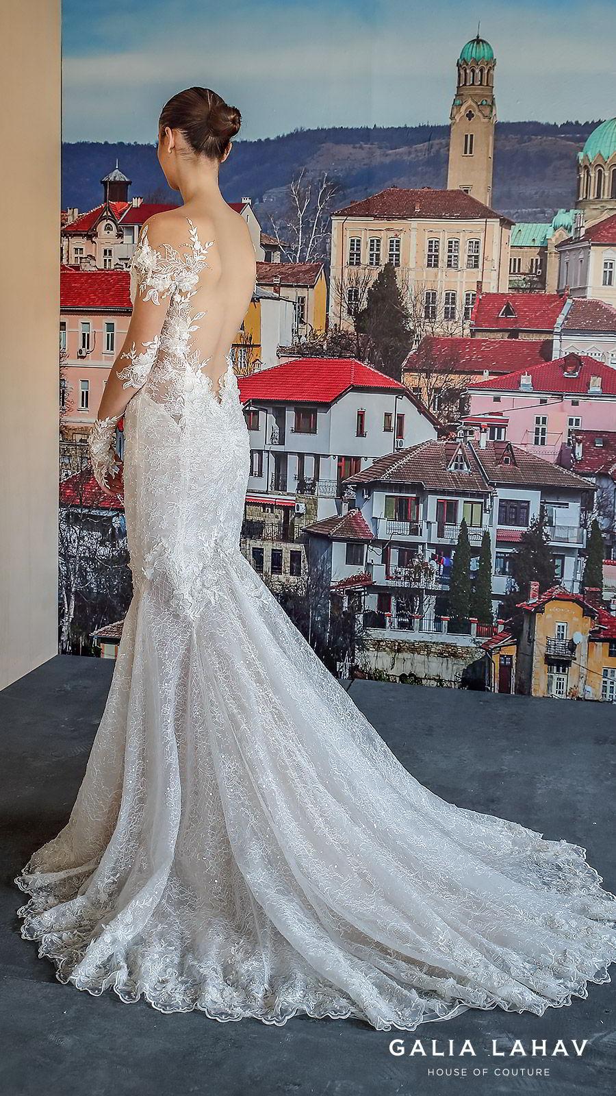galia lahav fall 2019 bridal illusion long sleeves sweetheart neckline fit flare heavily embellished mermaid lace wedding dress open back chapel train elegant romantic (nissa) bv
