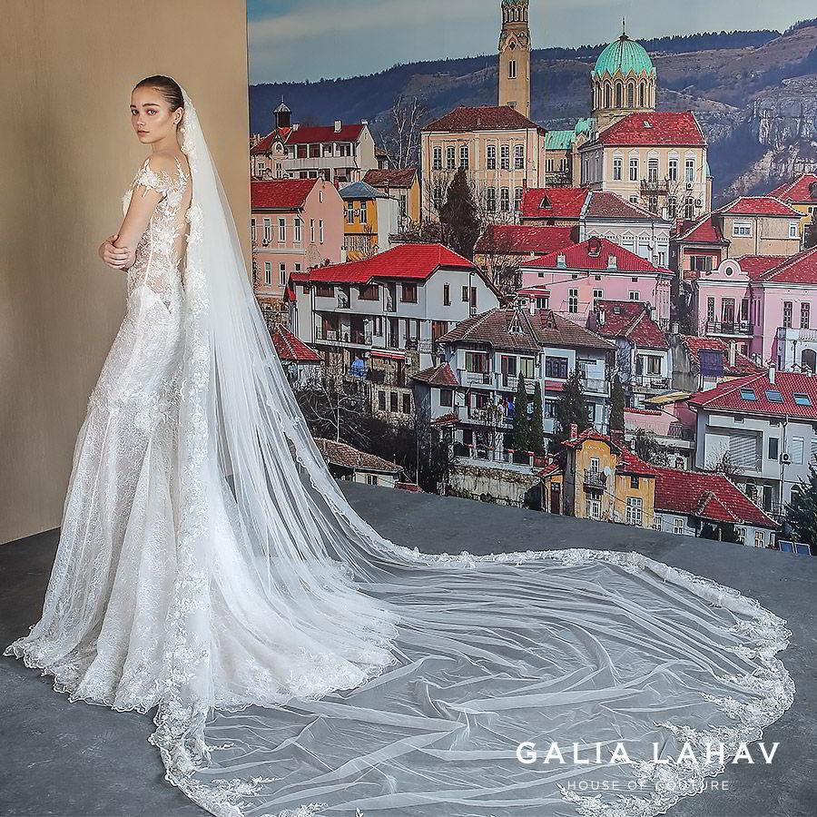 galia lahav fall 2019 bridal illusion long sleeves sweetheart neckline fit flare heavily embellished mermaid lace wedding dress open back chapel train elegant romantic veil (nissa) bv