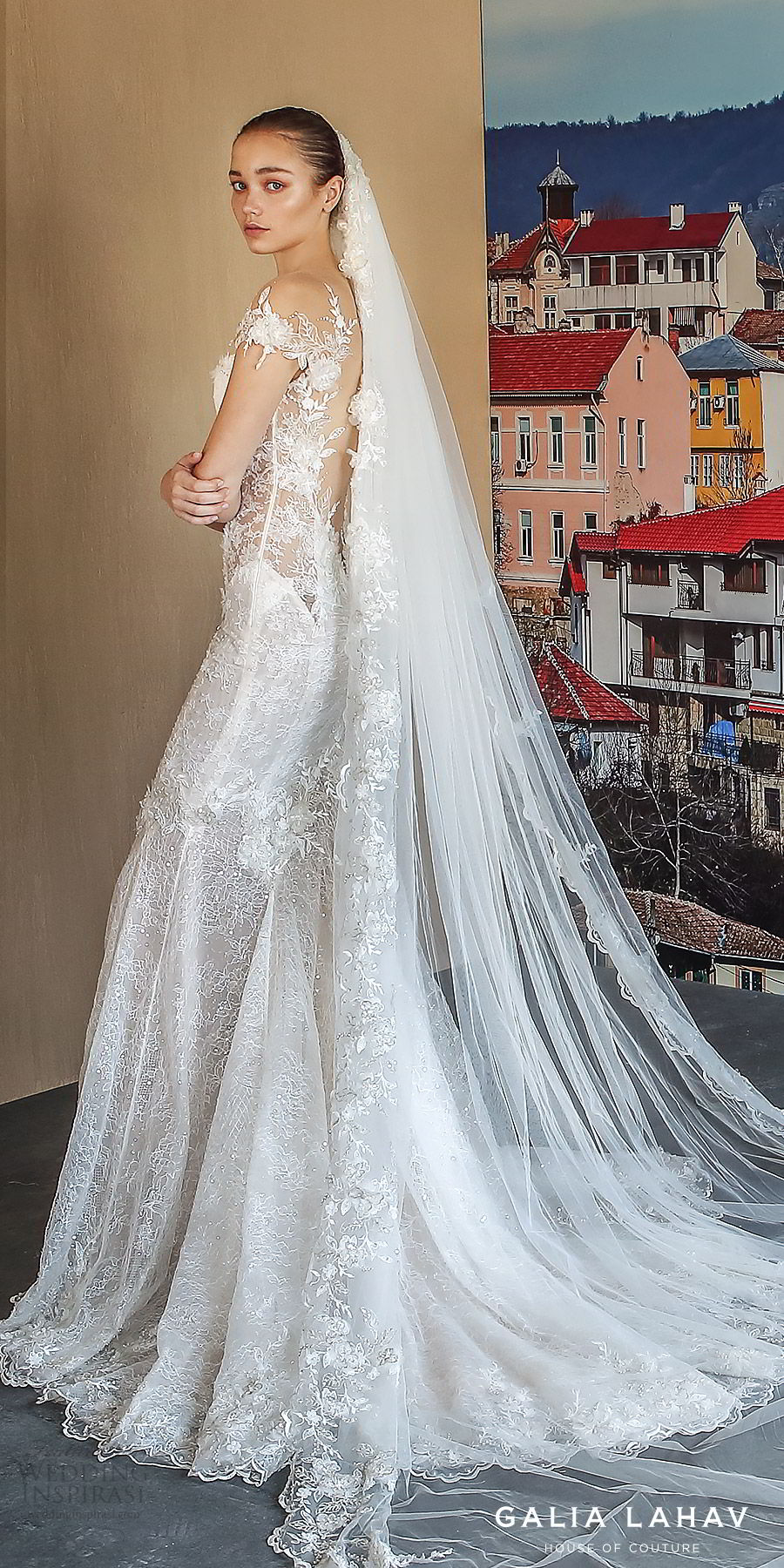 galia lahav fall 2019 bridal illusion long sleeves sweetheart neckline fit flare heavily embellished mermaid lace wedding dress open back chapel train elegant romantic veil (nissa) zbv