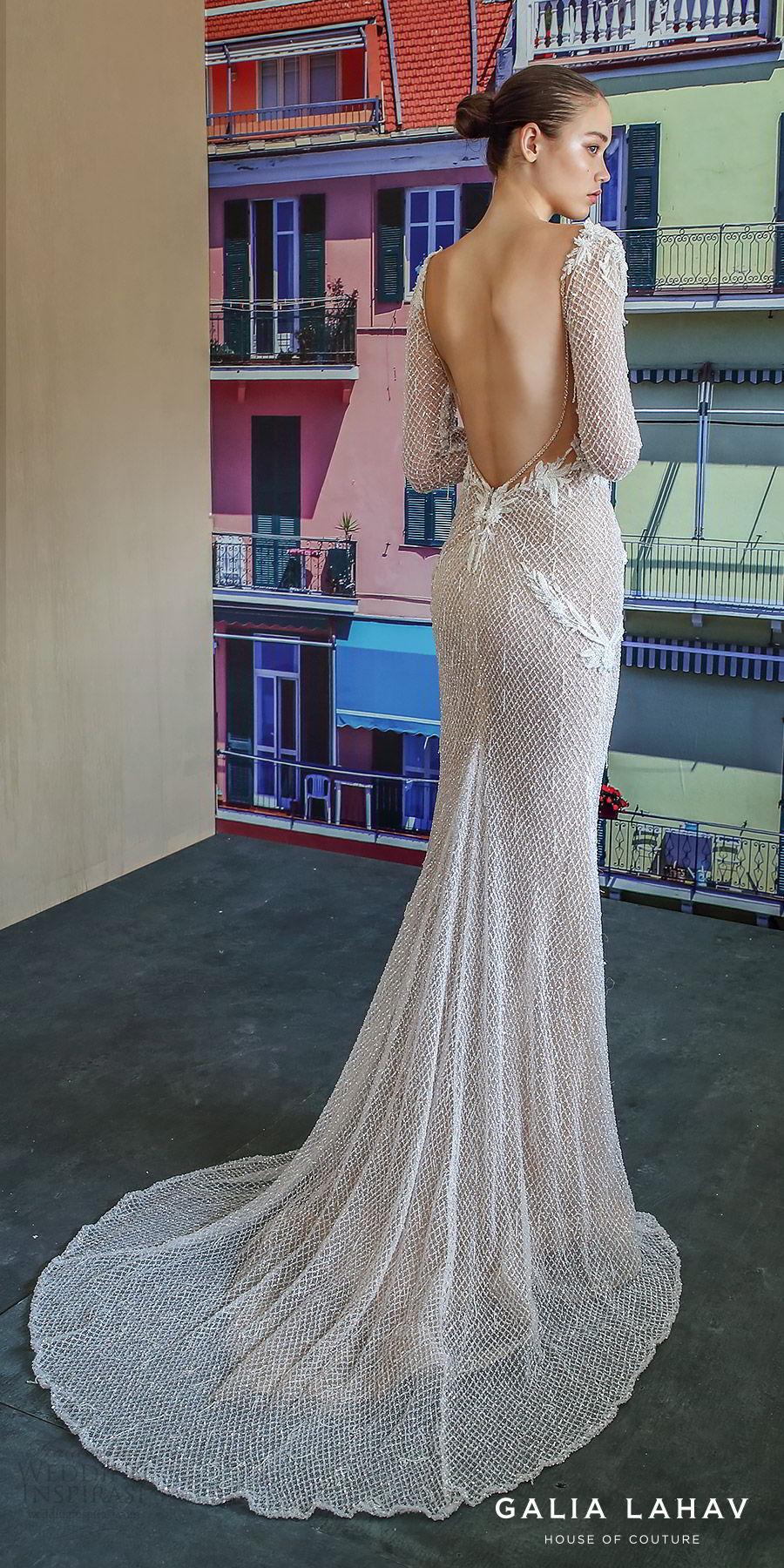 galia lahav fall 2019 bridal long sleevess plunging v neckline fully embellished sheath mermaid wedding dress open back glam glitzy elegant sweep train (estelle) bv