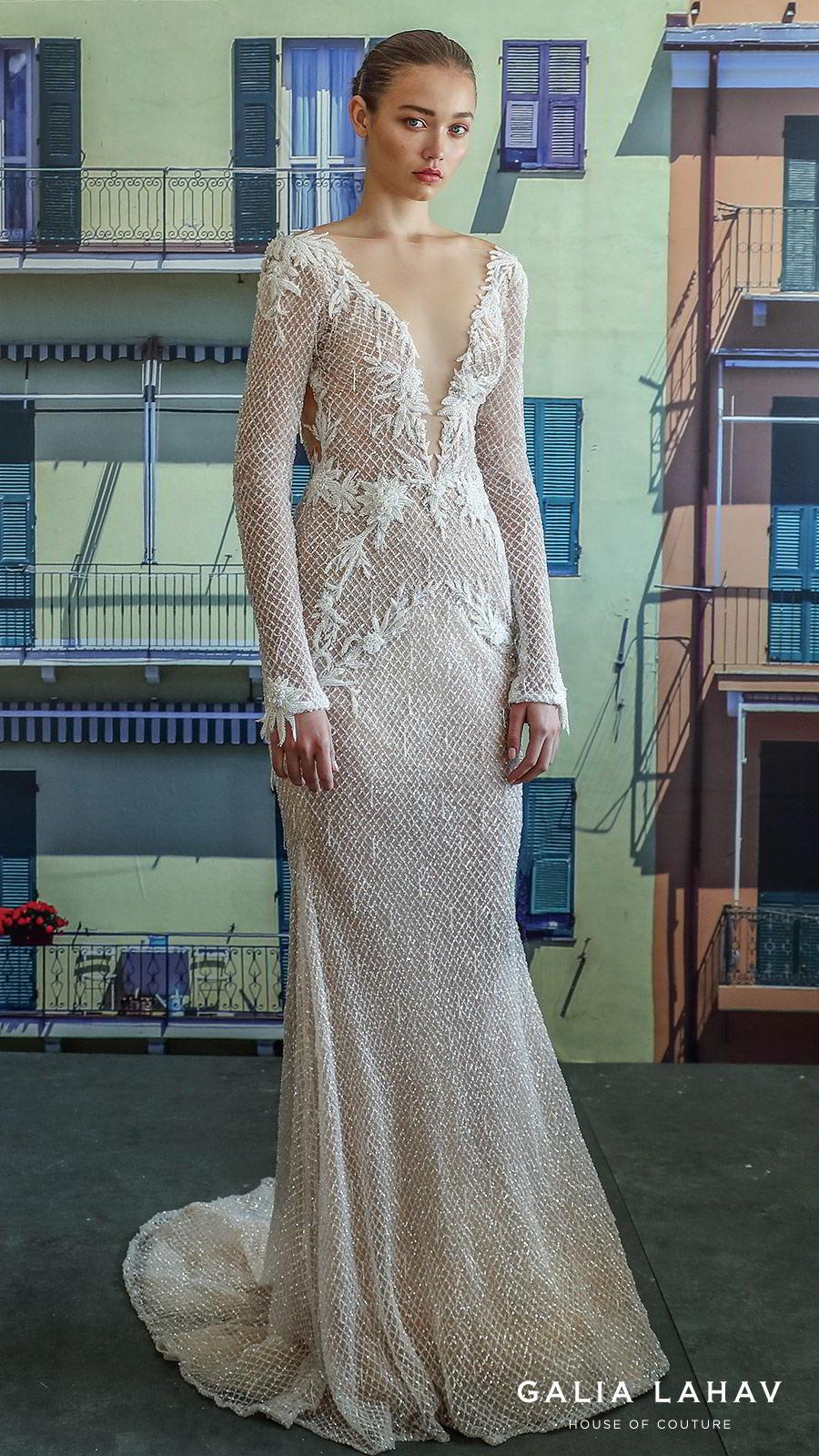 galia lahav fall 2019 bridal long sleevess plunging v neckline fully embellished sheath mermaid wedding dress open back glam glitzy elegant sweep train (estelle) mv