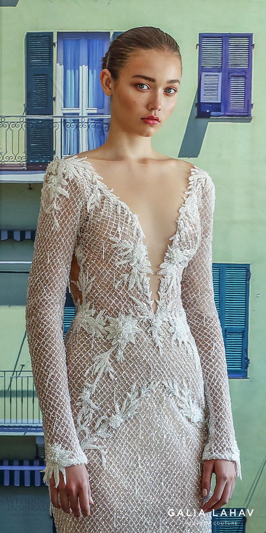 galia lahav fall 2019 bridal long sleevess plunging v neckline fully embellished sheath mermaid wedding dress open back glam glitzy elegant sweep train (estelle) zv