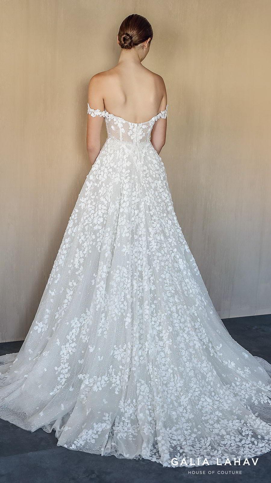 galia lahav fall 2019 bridal off shoulder embellished straps split neckline fully embellished lace a line ball gown wedding dress chapel train romantic (solange) bv
