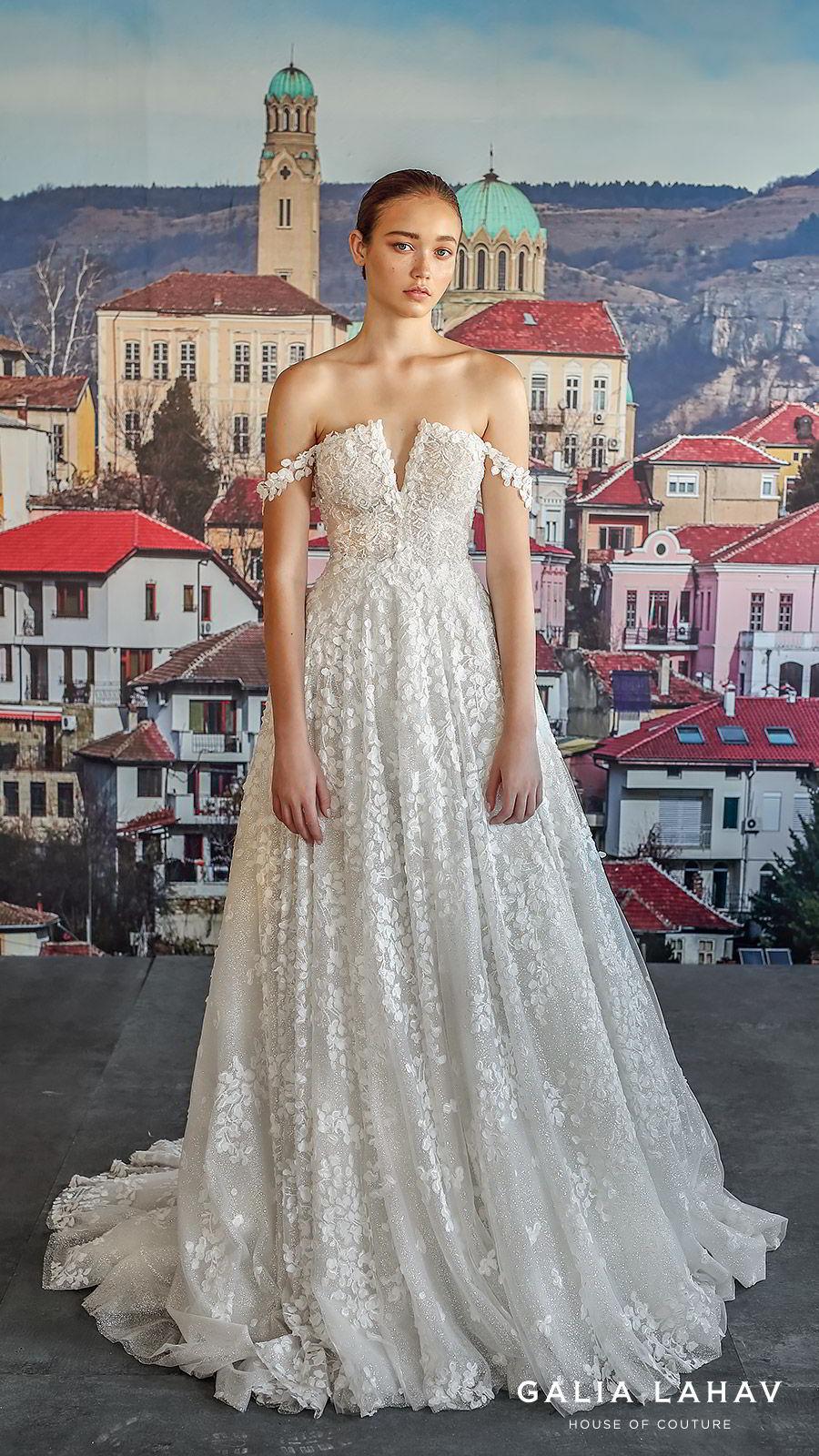 galia lahav fall 2019 bridal off shoulder embellished straps split neckline fully embellished lace a line ball gown wedding dress chapel train romantic (solange) mv