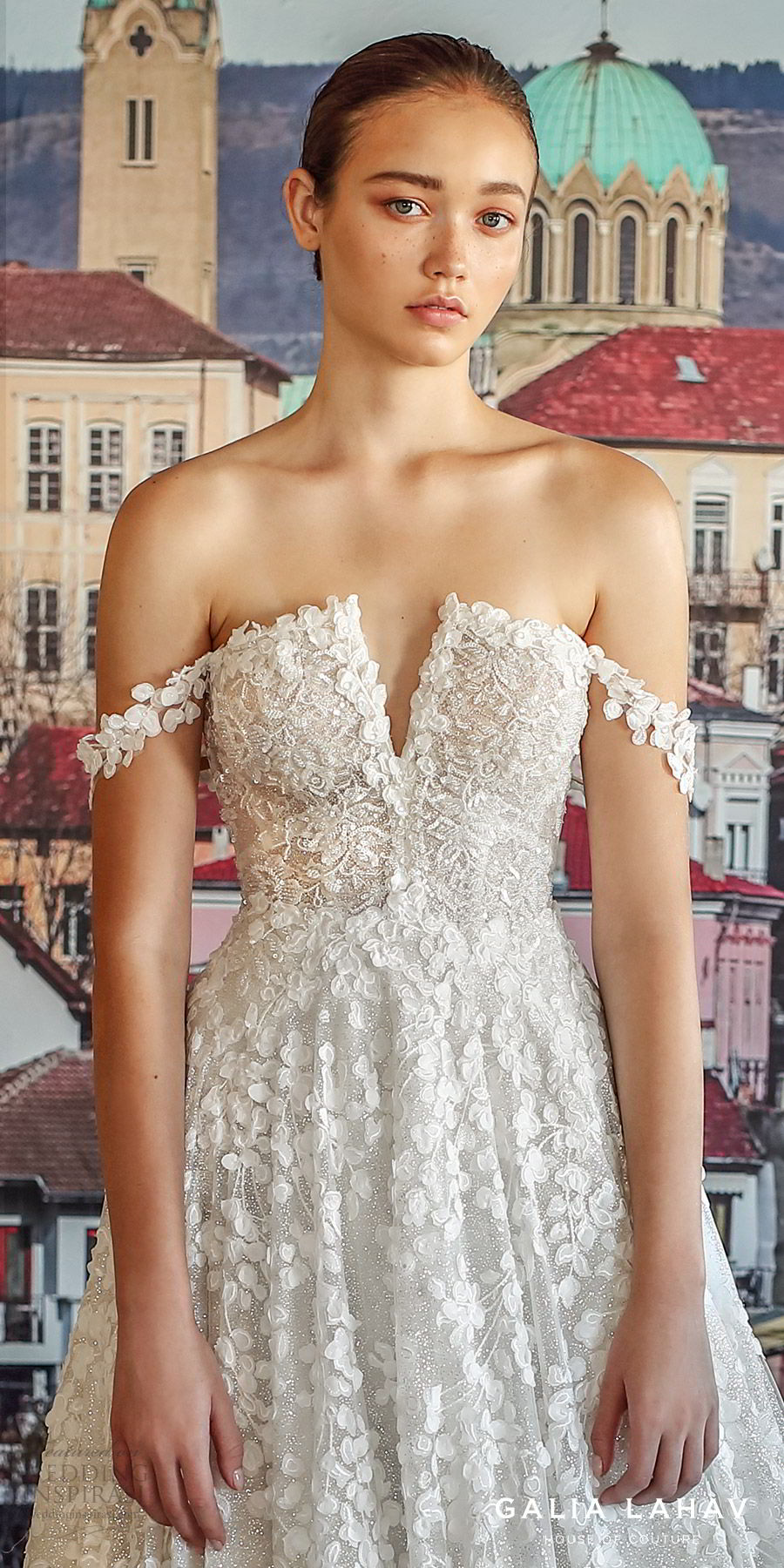 galia lahav fall 2019 bridal off shoulder embellished straps split neckline fully embellished lace a line ball gown wedding dress chapel train romantic (solange) zv