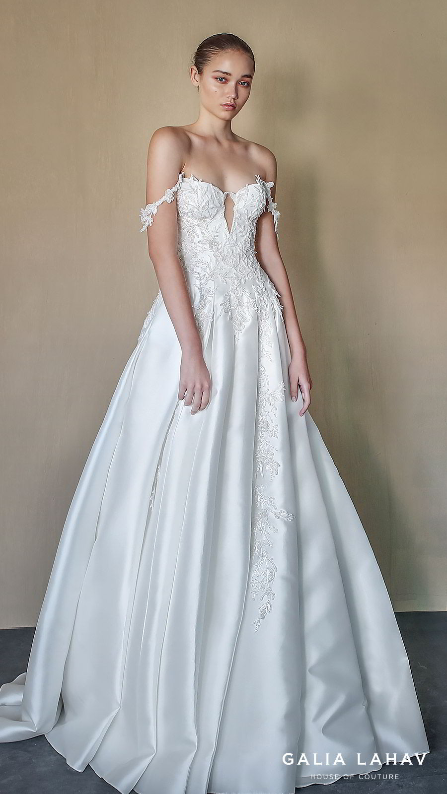galia lahav fall 2019 bridal off shoulder lace straps sweetheart neckline keyhole embellished bodice ball gown wedding dress romantic elegant (aida) mv