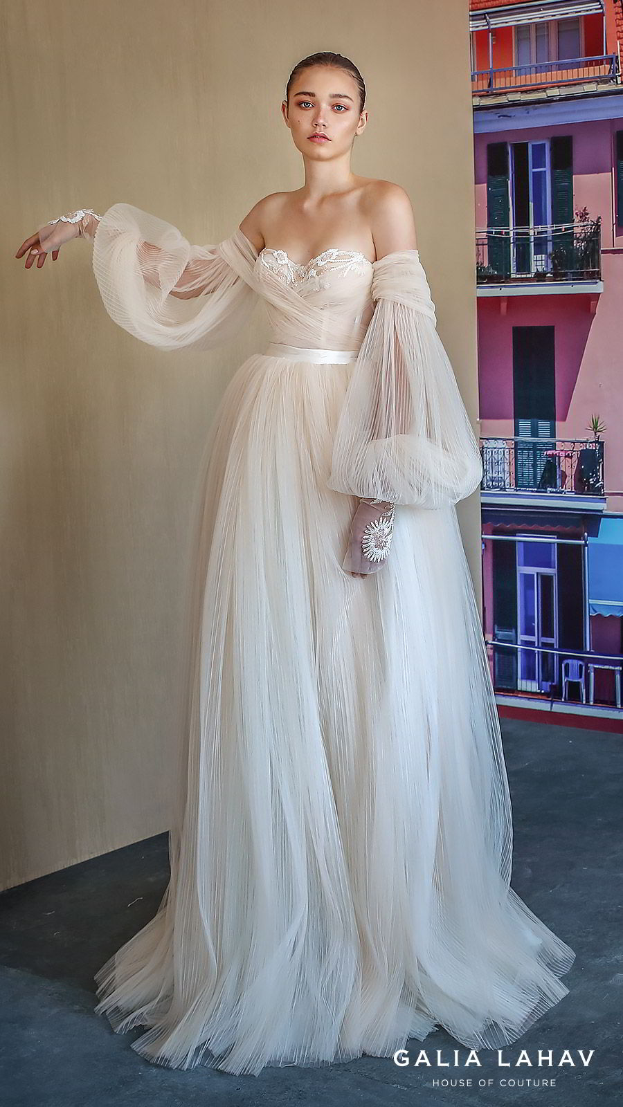 galia lahav fall 2019 bridal off shoulder sheer balloon sleeves sweetheart neckline lace bodice pleated ball gown wedding dress sweep train blush romantic (bellina) mv