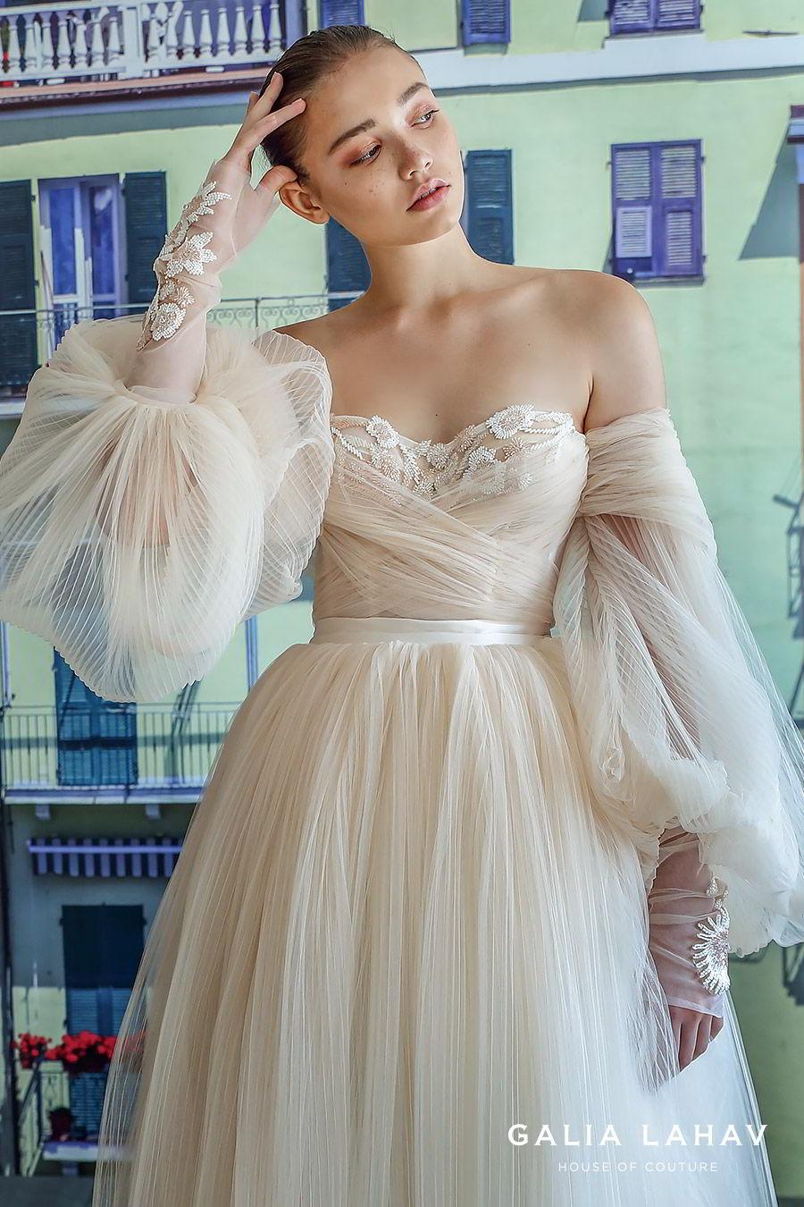 galia lahav fall 2019 bridal off shoulder sheer balloon sleeves sweetheart neckline lace bodice pleated ball gown wedding dress sweep train blush romantic (bellina) zv