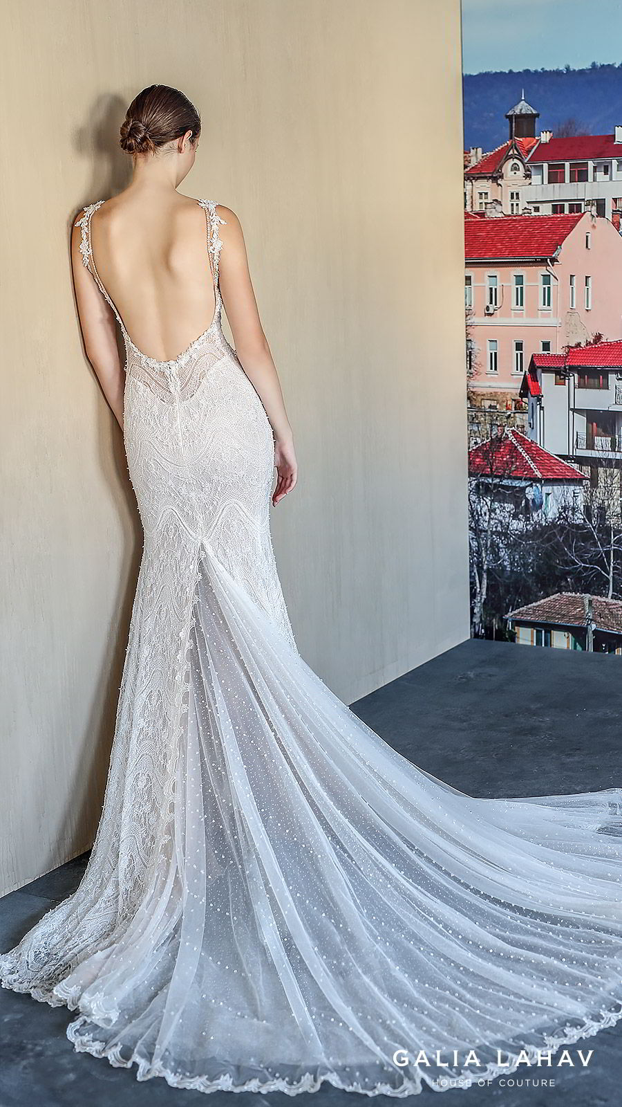 galia lahav fall 2019 bridal sleeveless plunging v neckline fully embellished lace sheath wedding dress low back chapel train (amani) bv