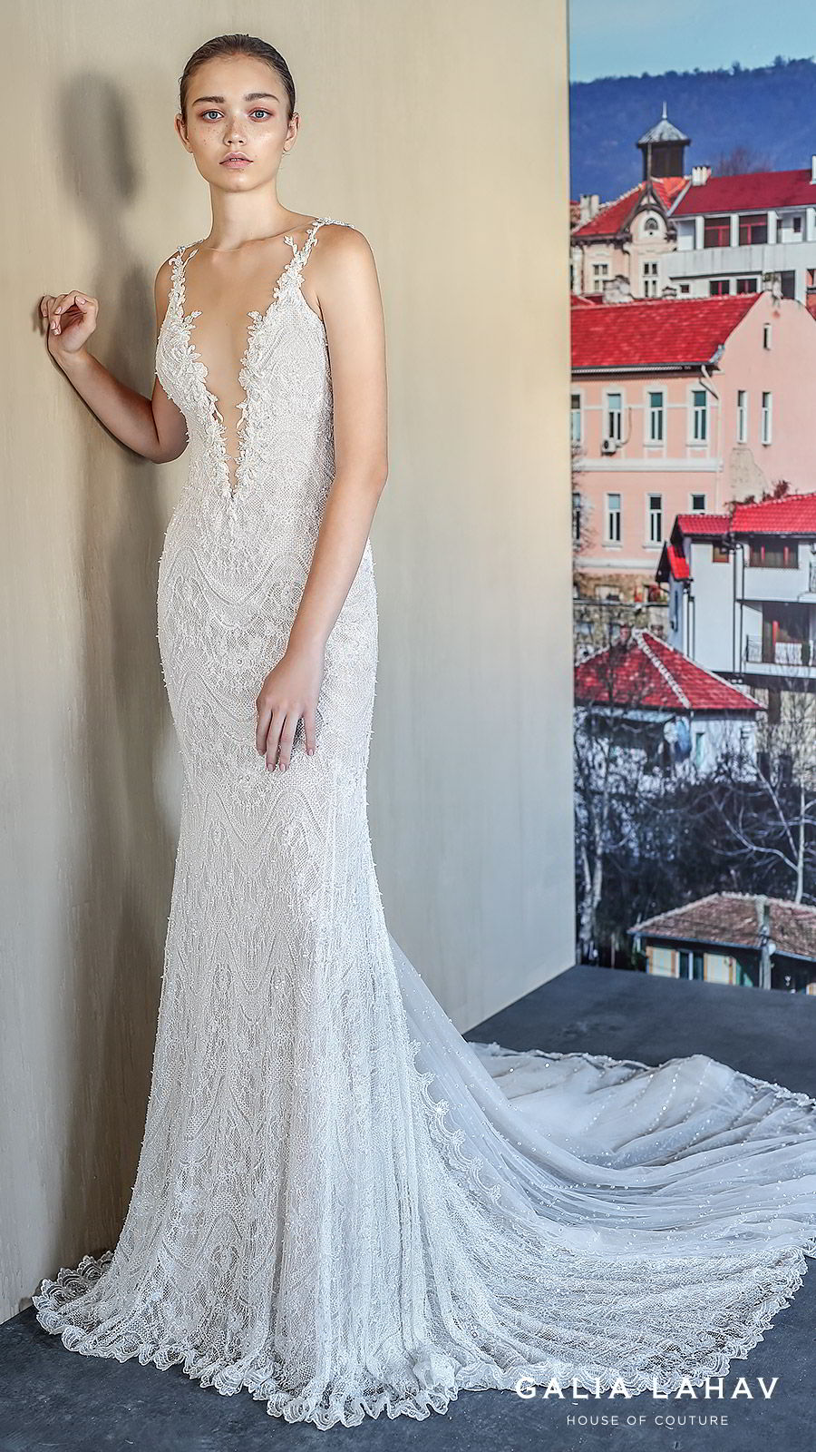 galia lahav fall 2019 bridal sleeveless plunging v neckline fully embellished lace sheath wedding dress low back chapel train (amani) mv