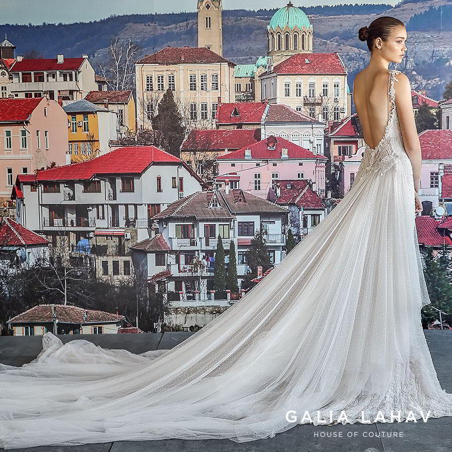 galia lahav fall 2019 bridal sleeveless plunging v neckline fully embellished lace sheath wedding dress low back chapel train overskirt (amani) sv