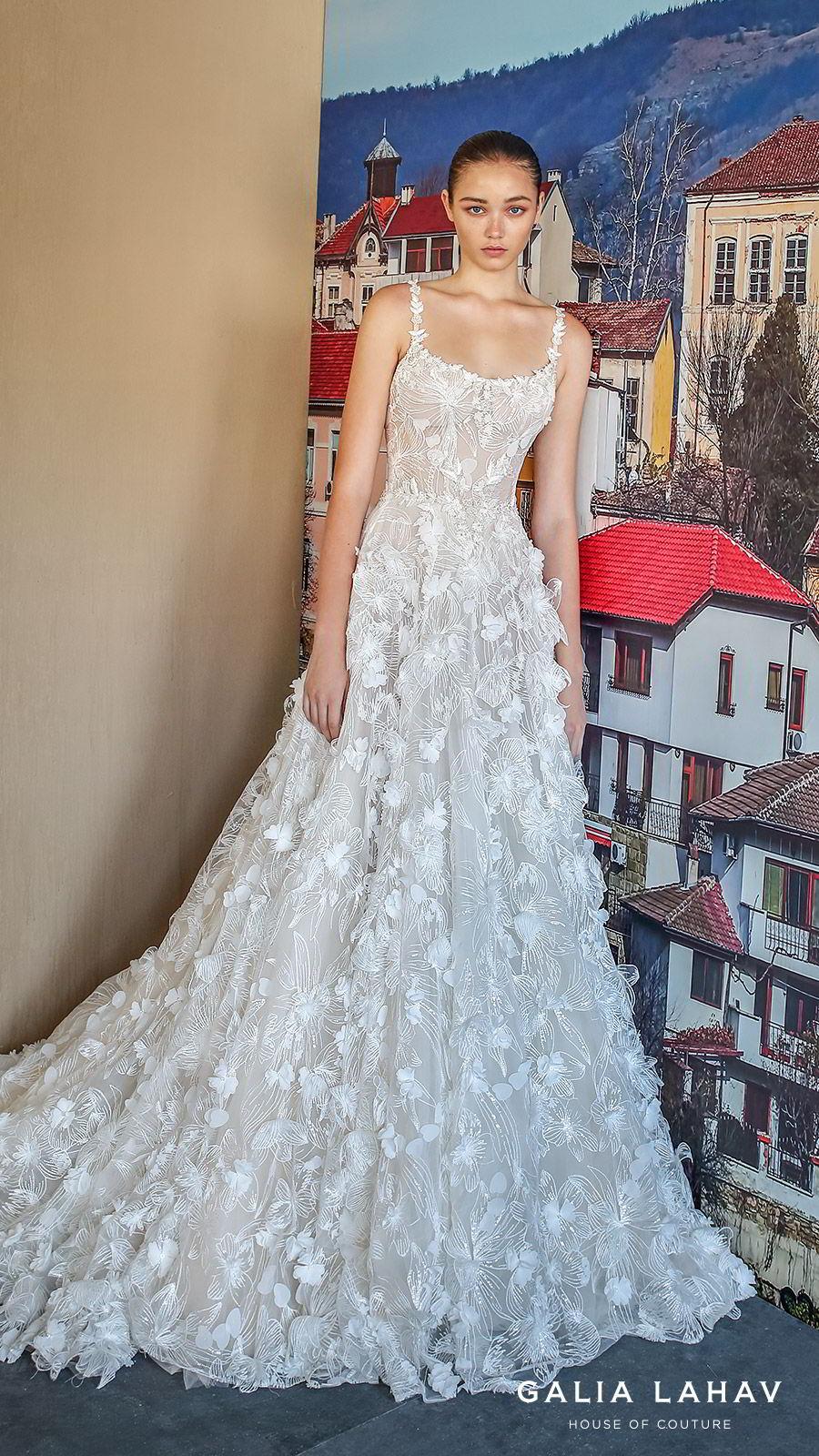 galia lahav fall 2019 bridal sleeveless straps scoop neckline fully embellished lace a line ball gown wedding dress romantic elegant chapel train (fabiana) mv