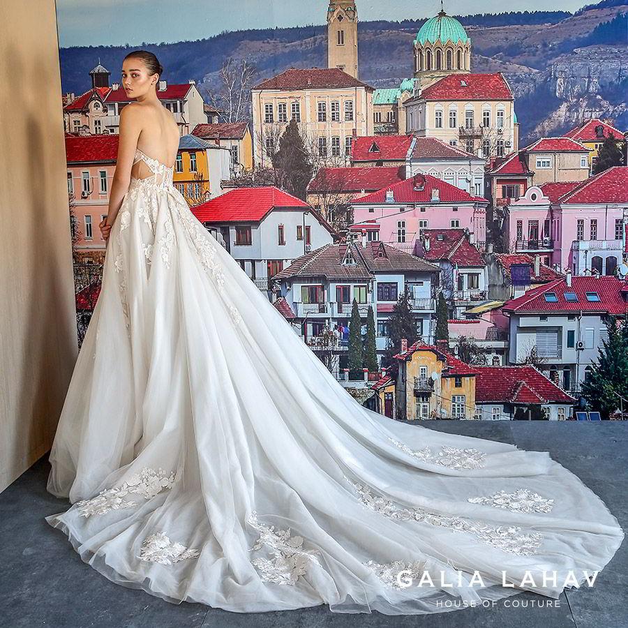 galia lahav fall 2019 bridal strapless split neckline embellished bodice side cutout ball gown wedding dress chapel train romantic elegant (querida) bv